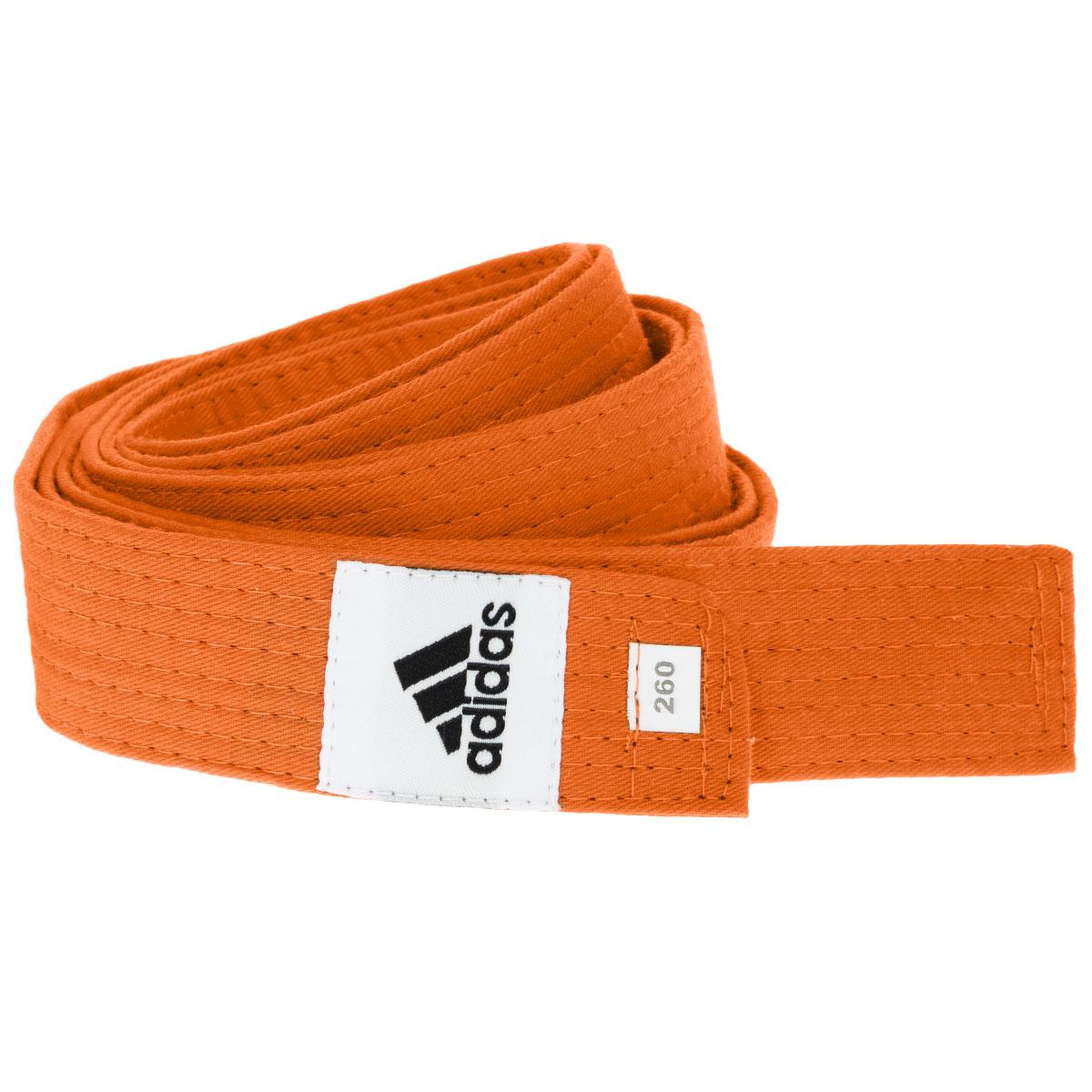 Пояс для единоборств adidas Club, цвет: оранжевый. adiB220. Длина 260 смadiB220Пояс для единоборств adidas Club - универсальный пояс для кимоно. Пояс выполнен из плотного хлопкового материала с прострочкой.Такой пояс - необходимый аксессуар для тех, кто занимается боевыми искусствами.