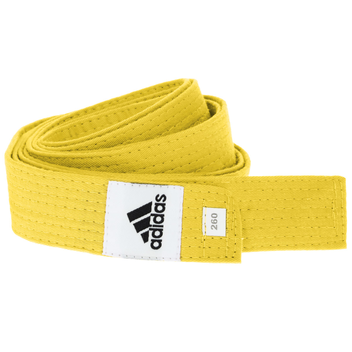 Пояс для единоборств adidas Club, цвет: желтый. adiB220. Длина 260 смadiB220Пояс для единоборств adidas Club - универсальный пояс для кимоно. Пояс выполнен из плотного хлопкового материала с прострочкой.Такой пояс - необходимый аксессуар для тех, кто занимается боевыми искусствами.