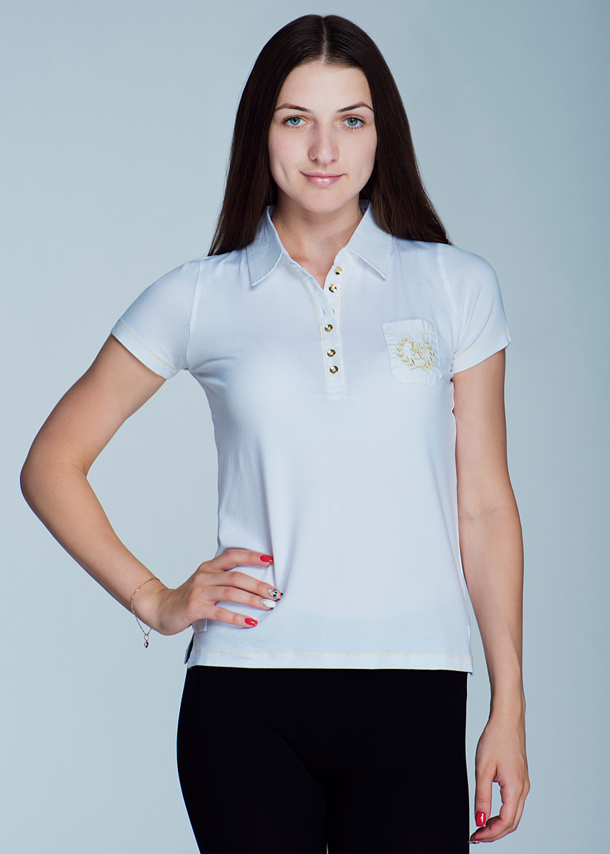 Поло женское Viriato, цвет: белый. 2464Т12. Размер S (40)2464Т12Великолепная женская футболка-поло Viriato с короткими рукавами, изготовленная из эластичной вискозы с добавлением хлопка, необычайно мягкая и приятная на ощупь, не сковывает движения, обеспечивая наибольший комфорт.Модель свободного кроя дополнена отложным воротником-поло и небольшой застежкой на пуговицы. На груди она дополнена небольшим накладным кармашком, оформленным вышивкой с логотипом бренда. Эта футболка-поло очень женственна и элегантна, дополнит любой ваш образ.