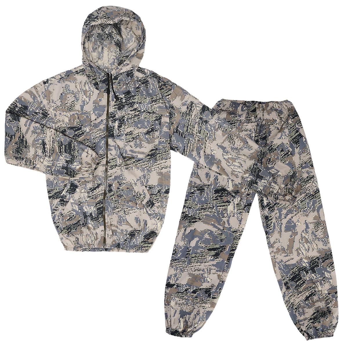 Костюм маскировочный мужской Стрелок, цвет: серый, коричневый. VST-L. Размер 60-62VST-LОтличный легкий летний костюм, аналог Снайпера, используется весной и летом-жаркую погоду, для любого отдыха на природе, в том числе активного, от +12 до 25 град. С. Прочная ткань с хлопком, дышит в жару, полиэстер дает прочность. Особенности модели: - куртка на молнии с капюшоном;- низ куртки и рукава на резинке; - два накладных кармана-с клапанами на груди, застегиваются на липучку, два боковых- прорезных с листочками;- на левом рукаве накладной карман с клапаном, застегивается на липучку; - брюки широкие по низу и талии стягиваются резинкой; - функциональные объемные карманы выше колена; - маскировочные цвета, легкая, прочная, дышащая ткань.