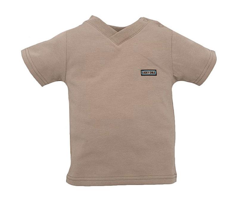 Футболка для мальчика Lucky Child, цвет: бежевый. 13-26.2. Размер 104/11013-26.2Детская футболка Lucky Child послужит идеальным дополнением к гардеробу вашего малыша, обеспечивая ему наибольший комфорт. Изготовленная из натурального хлопка, она необычайно мягкая и легкая, не раздражает нежную кожу ребенка и хорошо вентилируется, а эластичные швы приятны телу малыша и не препятствуют его движениям. Футболка с короткими рукавами имеет V-образный врез горловины. На груди с левой стороны она дополнена небольшой нашивкой в виде логотипа бренда. Футболка полностью соответствует особенностям жизни ребенка в ранний период, не стесняя и не ограничивая его в движениях!