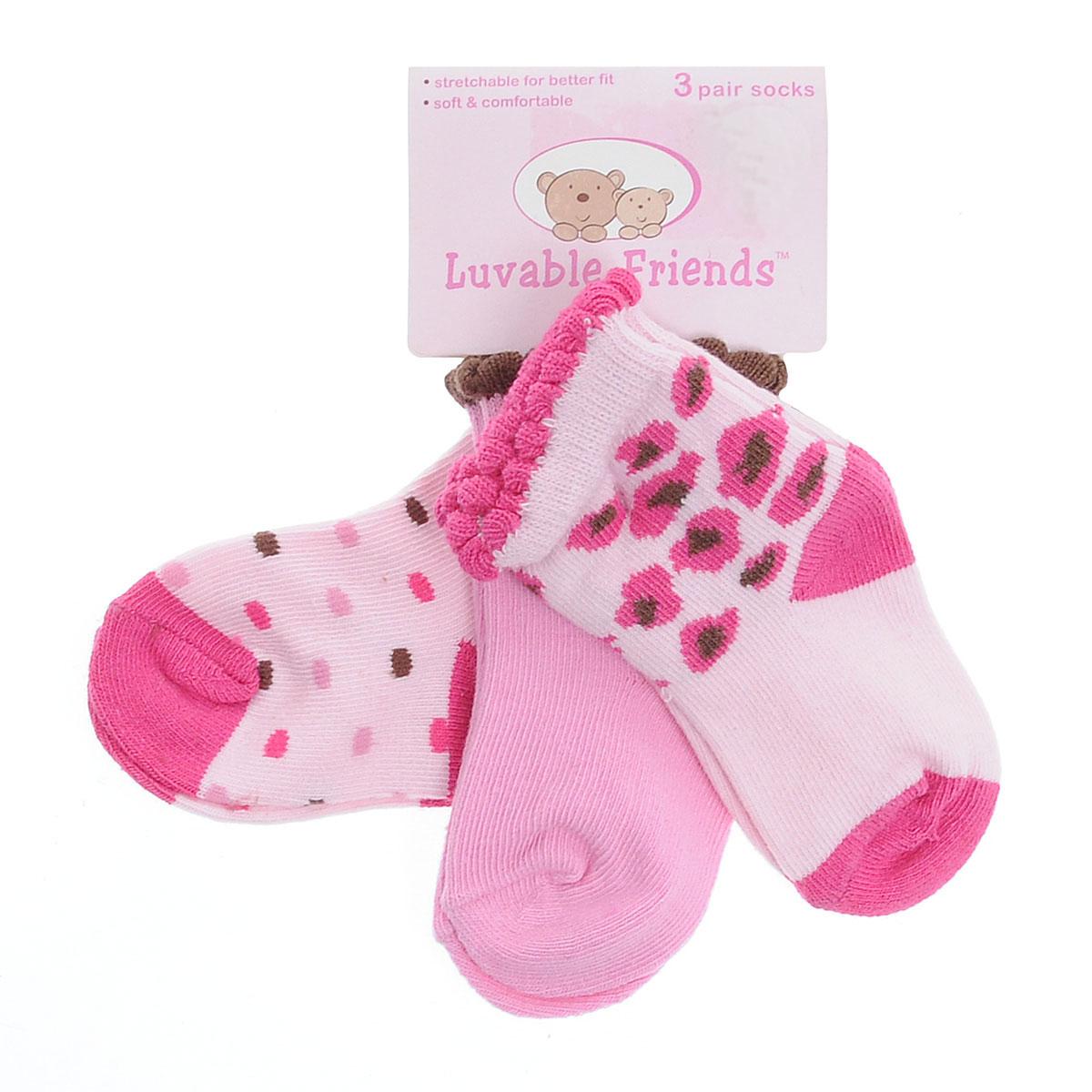 Носки для девочки Luvable Friends Fashion, цвет: розовый, коричневый, 3 пары. 23040. Размер 55/67, 0-6 месяцев
