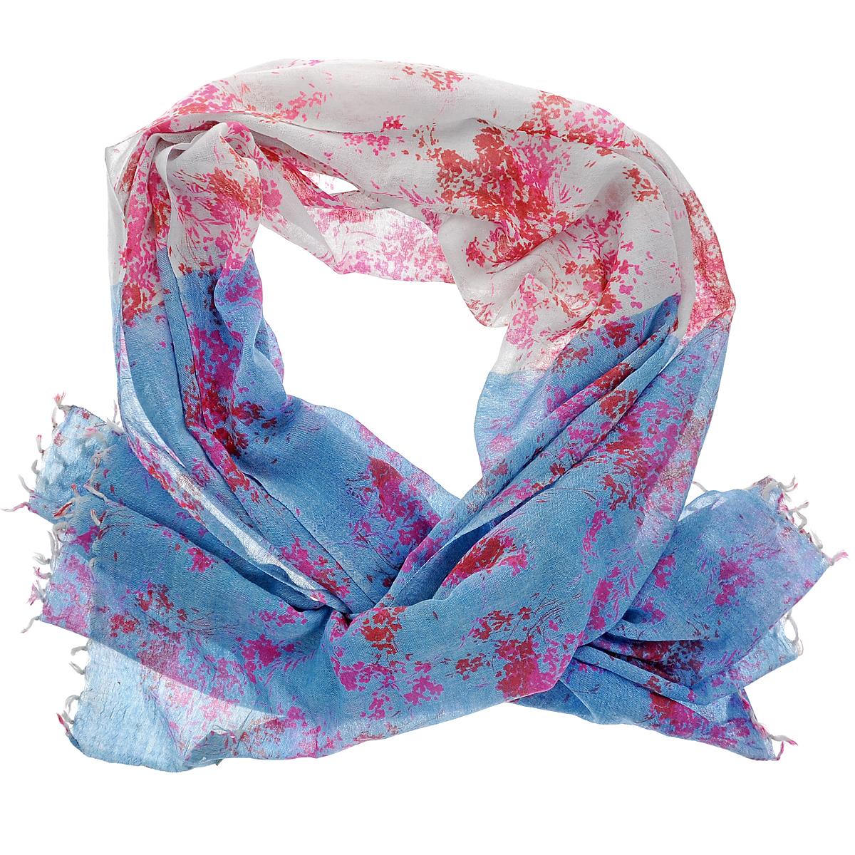 Палантин Michel Katana, цвет: голубой, розовый. ZW-LAVEFLOW/BLUE. Размер 100 см x 200 смZW-LAVEFLOW/BLUEСтильный палантин Michel Katana согреет в холодное время года, а также станет изысканным аксессуаром, который призван подчеркнуть вашу индивидуальность и стиль. Палантин выполнен из шерсти и декорирован принтом. По краям изделие оформлено кистями.
