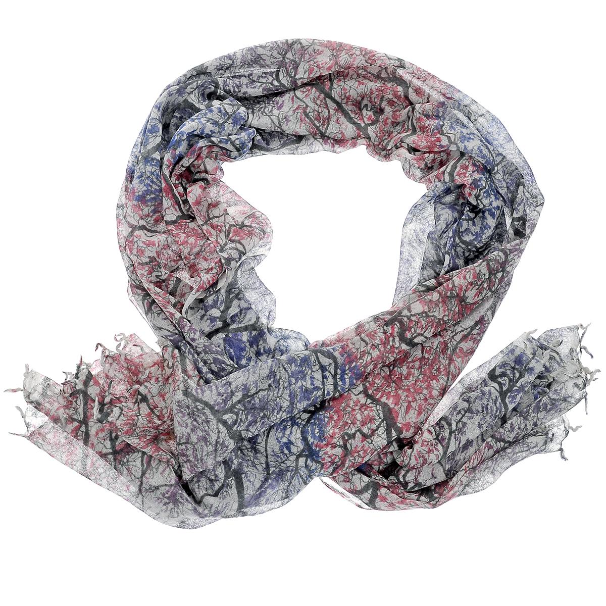 Палантин Michel Katana, цвет: синий, розовый. W-TREE2/BLUE. Размер 100 см x 200 смW-TREE2/BLUEСтильный палантин Michel Katana согреет в холодное время года, а также станет изысканным аксессуаром, который призван подчеркнуть вашу индивидуальность и стиль. Палантин выполнен из шерсти и декорирован принтом с изображением деревьев. По краям изделие оформлено кистями.