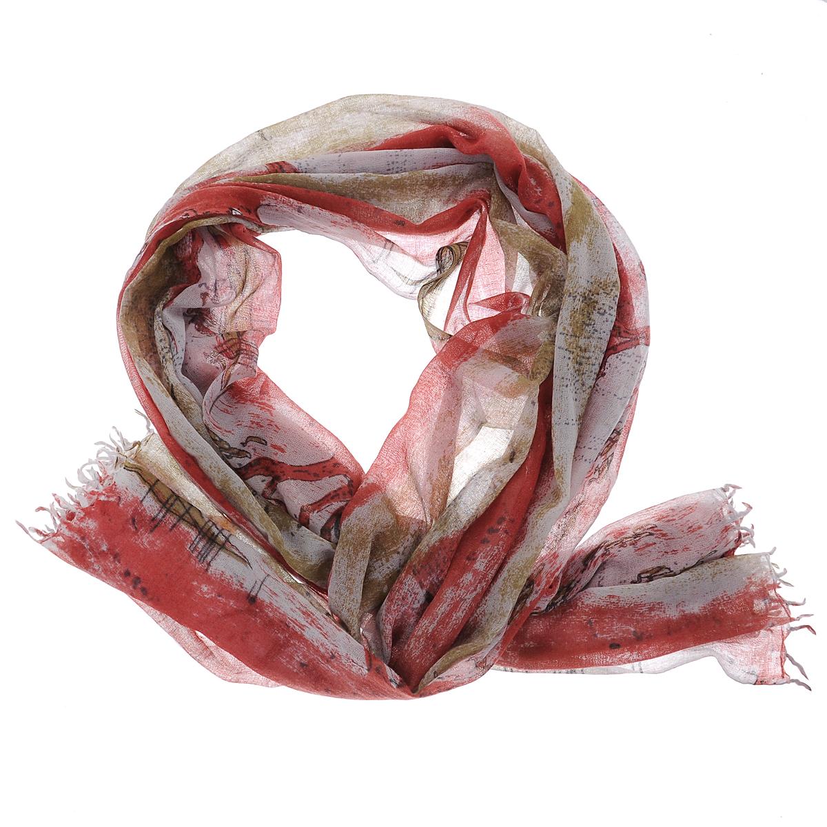 Палантин Michel Katana, цвет: серый, бордовый. W-BIRDONRIVER/RED. Размер 100 см x 200