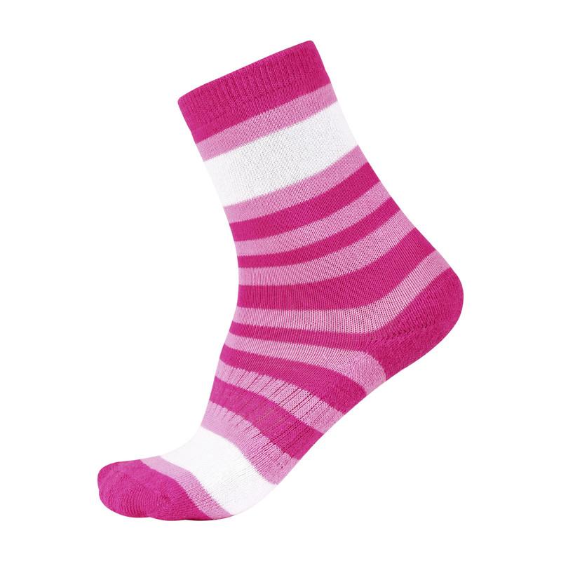 Носки детские Reima Neoma, цвет: розовый, белый. 527198-4620B. Размер 26/29527198_4620BНоски Reima Neoma - самый лучший выбор для активного ребенка. Благодаря материалу Coolmax, ноги у ребенка всегда сухие, так как данный материал эффективно выводит влажность с поверхности кожи. Особая вязка вокруг ступни и пятки. Усиленная пятка, стелька и носок. Более тонкая структура вязки на лодыжке.