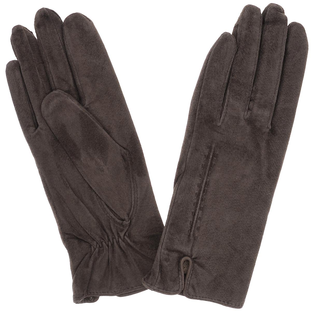 Перчатки женские Dali Exclusive, цвет: коричневый. SP11_ALINA. Размер 7,5SP11_ALINAСтильные перчатки Dali Exclusive с шерстяной подкладкой выполнены из мягкой и приятной на ощупь натуральной замши. Лицевая сторона оформлена декоративными стежками и дополнена небольшими разрезами. Такие перчатки подчеркнут ваш стиль и неповторимость и придадут всему образу нотки женственности и элегантности.