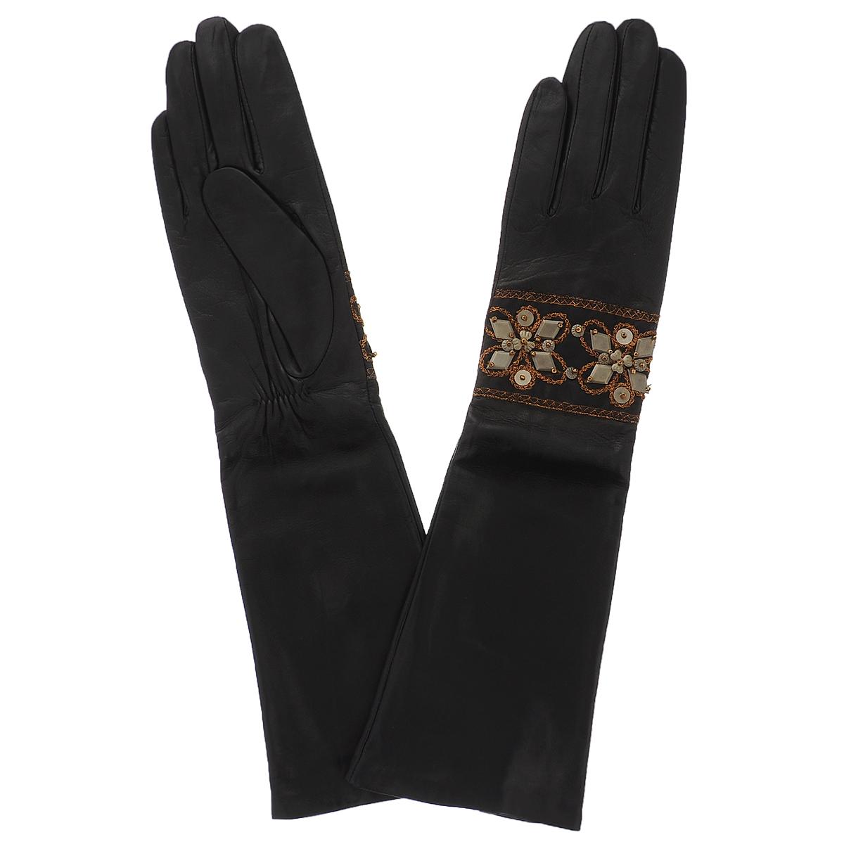 Перчатки женские Dali Exclusive, цвет: черный. 81_UNE_21/BL//11. Размер 6,581_UNE_21/BL//11Стильные удлиненные перчатки Dali Exclusive с шелковой подкладкой выполнены из мягкой и приятной на ощупь натуральной кожи ягненка. На внутренней стороне под большим пальцем сборка на резинке. Лицевая сторона декорирована лентой, расшитой блестящей нитью и аппликацией из металлических пластин. Такие перчатки подчеркнут ваш стиль и неповторимость.