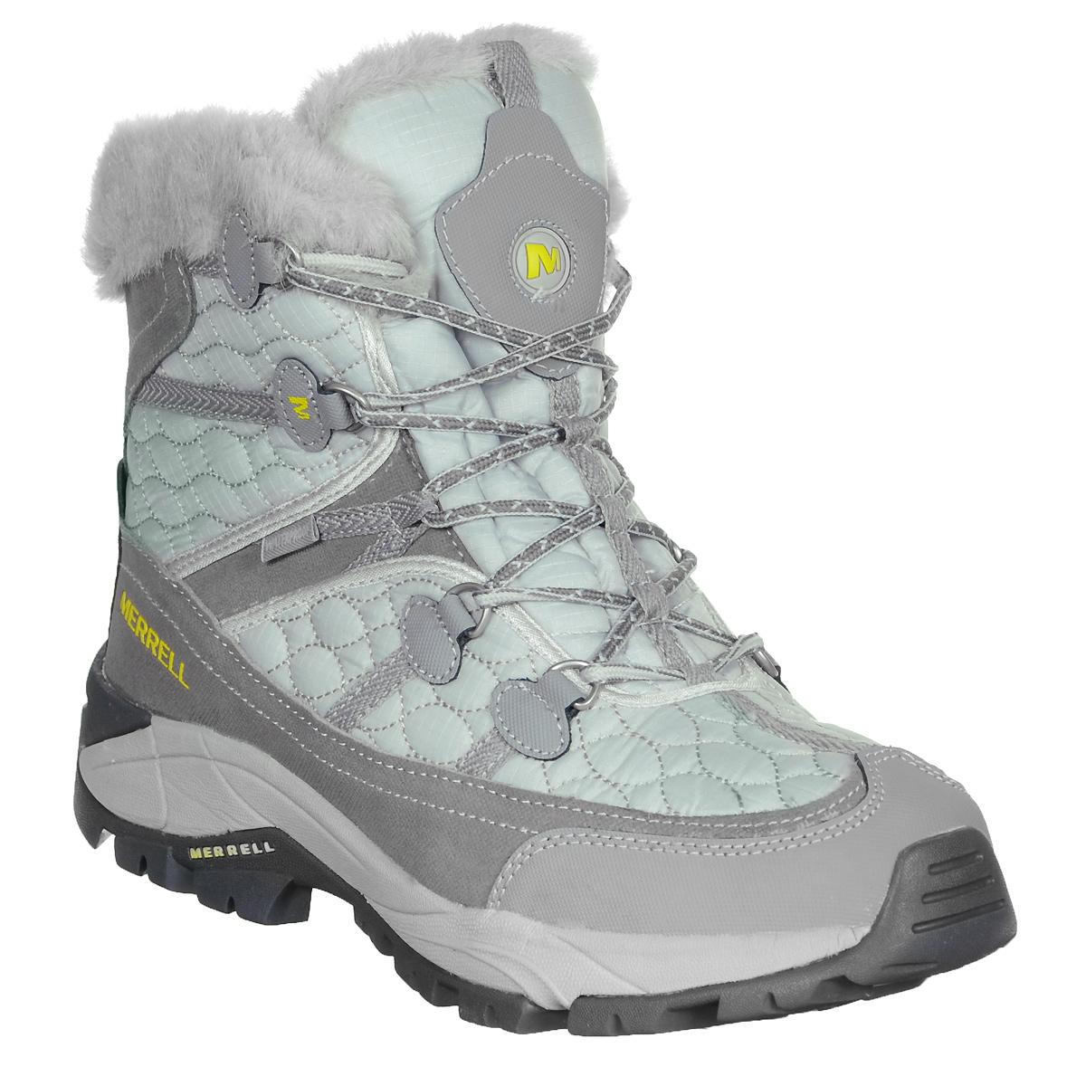 Ботинки трекинговые женские Merrell Cannonsburg, цвет: серый, мятный. J097132C. Размер 7H (38)J097132CУдобные трекинговые женские ботинки Cannonsburg от Merrell прекрасно подойдут для активного отдыха в холодное время. Верх модели выполнен из натуральной кожи и текстиля. Подкладка из мягкого флиса защитит ноги от холода и обеспечит комфорт. Шнуровка надежно фиксирует модель на ноге. Вшитый язычок обеспечивает дополнительную термоизоляцию. Утеплитель Merrell Opti-Warm200 сохранит ваши ноги в тепле на длительный период. Ботинки оформлены меховой окантовкой, оригинальной прострочкой, сбоку рельефной надписью в виде названия бренда, на язычке логотипом Merrell.Промежуточная подошва выполнена из ЭВА с Air Cushion - гибкого, легкого материала обладающего отличной амортизацией, который стабилизирует и защищает от ударов стопу. Подошва из резины с рельефным протектором обеспечивает отличное сцепление на любой поверхности. Эти ботинки оптимальный вариант для трекинга. В них вашим ногам будет комфортно и уютно.