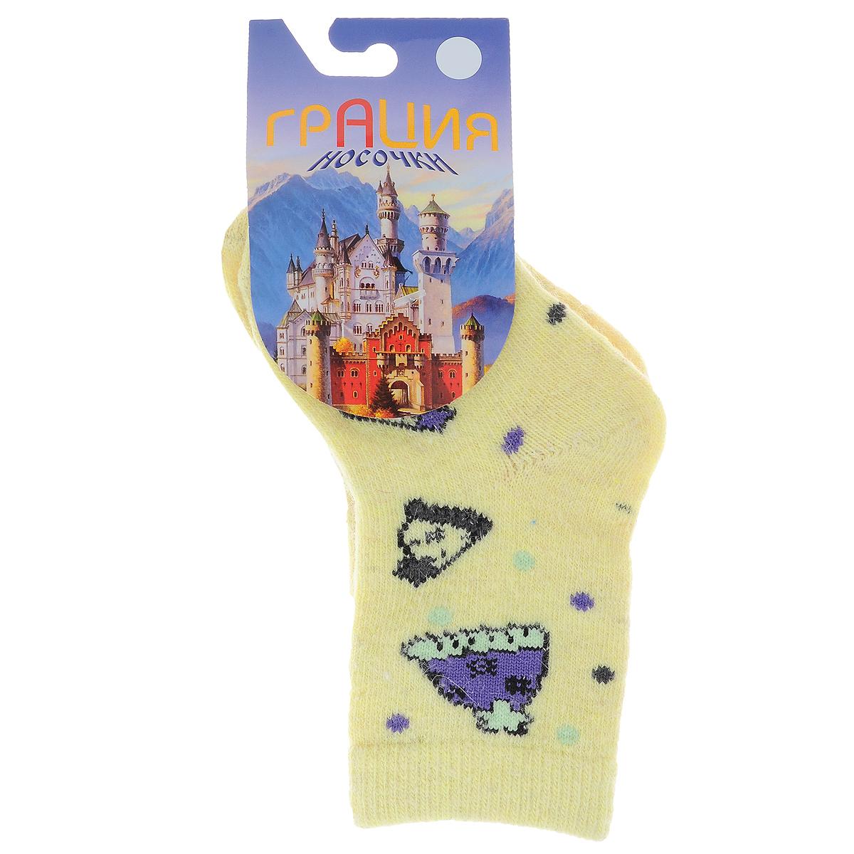 Носки детские Грация, цвет: светло-желтый. Д 2303_10. Размер 140/146, 9-12 летД 2303_10Детские теплые носки Грация - прекрасный вариант для вашего ребенка. Они изготовлены из экологически чистой пряжи смешанного состава, очень мягкие на ощупь, не раздражают даже самую нежную и чувствительную кожу. Носки имеют анатомическую двубортную резинку и плоский шов на мыске. Оформлена модель вязаным рисунком в виде шапочек и цветных горошин. Они послужат замечательным дополнением к детскому гардеробу и сохранят ножки вашего ребенка в тепле!
