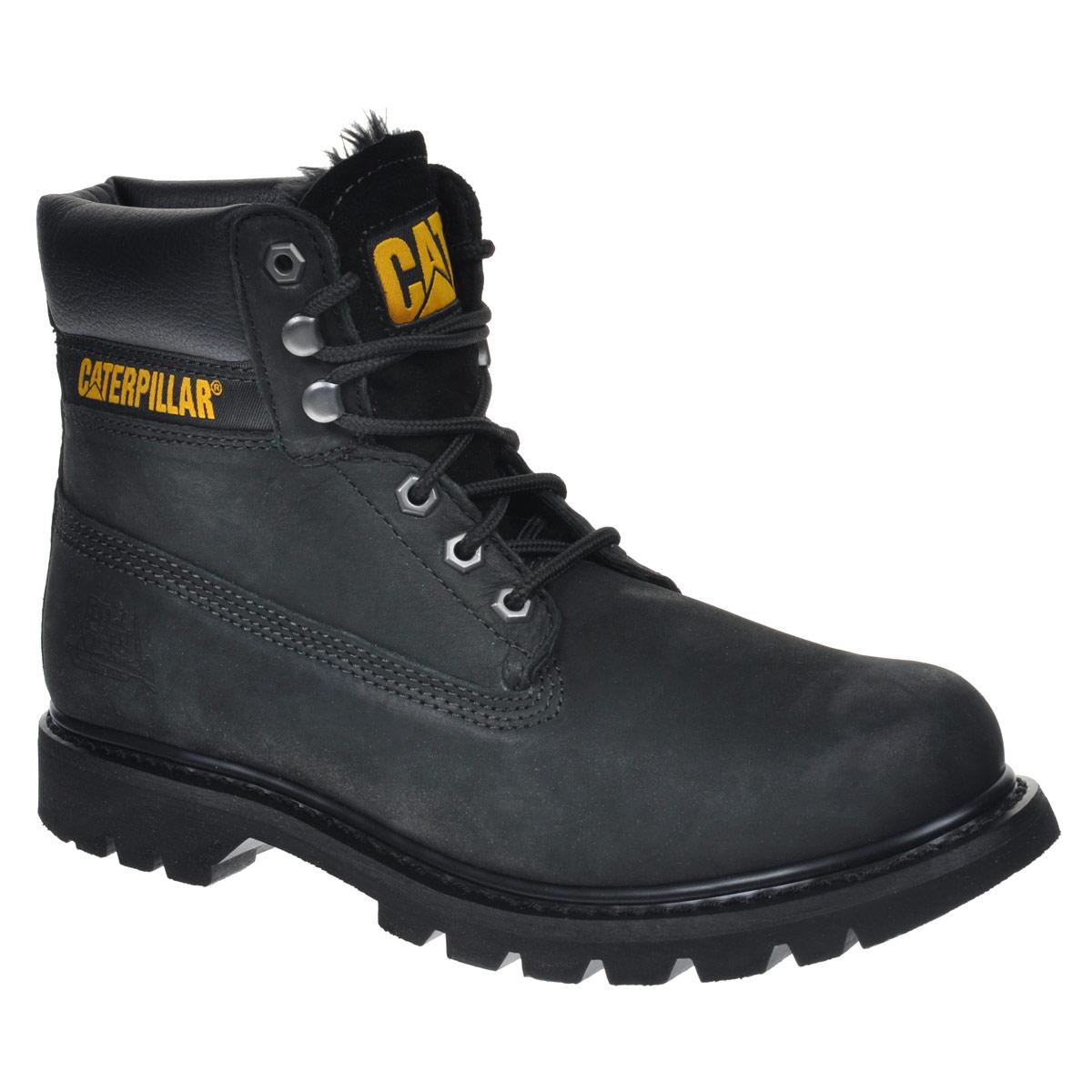 Ботинки мужские Caterpillar Colorado Fur, цвет: черный. P718140. Размер 9 (42)P718140Стильные мужские ботинки Colorado Fur от Caterpillar надежно защитят вас от холода. Верх выполнен из натуральной кожи со вставками из полиуретана. Подкладка изготовлена из мягкого искусственного меха, позволяющего сохранять ваши ноги в тепле. Шнуровка надежно фиксирует модель на ноге. Оформлено изделие по бокам и на язычке нашивками с названием и логотипом бренда, а сбоку на пятке - тиснением в виде бульдозера. Стельки из пластика EVA обеспечивают комфортное положение стопы и амортизацию. Резиновая подошва с крупным протектором обеспечивает хорошее сцепление с поверхностью.Такие ботинки отлично подойдут для каждодневного использования и подчеркнут ваш стиль и индивидуальность.