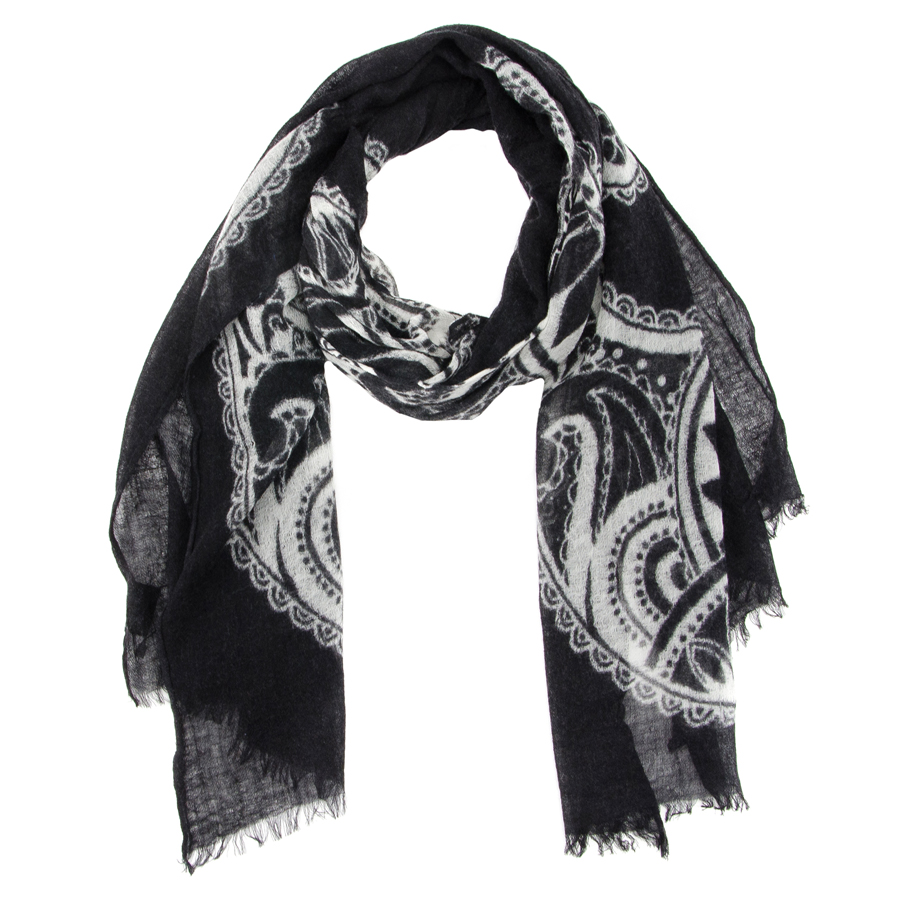 Палантин женский Moltini, цвет: черный. 35003. Размер 70 см х 200 см35003-07BЭлегантный палантин, выполненный из шерсти, станет изысканным, нарядным аксессуаром, который призван подчеркнуть индивидуальность и очарование женщины. Палантин оформлен необычным узором, по краю декорирован кистями. Вы можете носить этот аксессуар как объемный шарф, чтобы оживить повседневный офисный образ, или комбинировать его с вечерним платьем.