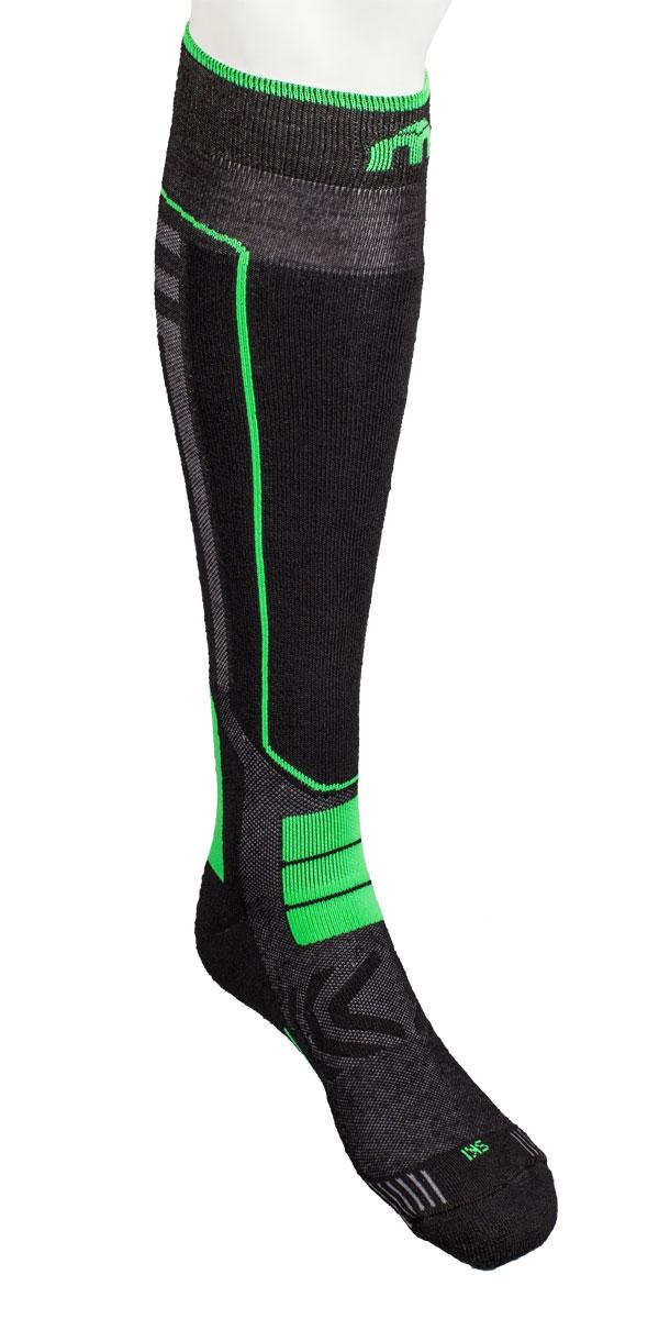 Носки горнолыжные MICO, цвет: черный, зеленый. 0246. Размер XL (44/46)246_155- Носок имеет двойную структуру: внутренний слой состоит из полипропилена Micotex.- Волокна полиамида дают добавляют носку прочности и эластичности.- Лайкра повышает эластичность носка и сохраняет форму.- Дополнительная защита голени.- Мягкая резинка по верху носка не сжимает ногу и не дает ощущения сдавливания даже при длительном использовании.- Специальное плетение в области стопы фиксирует ногу при занятиях спортом и ходьбе и не дает скользить стопе вперед.Итальянская компания MICO один из ведущих производителей носков и термобелья на Европейском рынке для занятий различными видами спорта. Носки предназначены для занятий различными видами спорта, в том числе для носки в городе в очень холодную погоду.