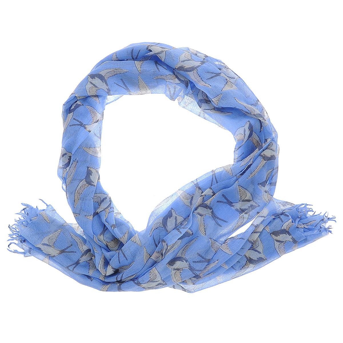 Палантин Michel Katana, цвет: синий, бежевый, серый. W-DOVE/GREEN. Размер 100 см x 200 смW-DOVE/GREENСтильный палантин Michel Katana W-DOVE согреет в холодное время года, а также станет изысканным аксессуаром, который призван подчеркнуть вашу индивидуальность и стиль. Палантин выполнен из шерсти и декорирован оригинальным орнаментом с изображением ласточек. По краям изделие оформлено кистями.