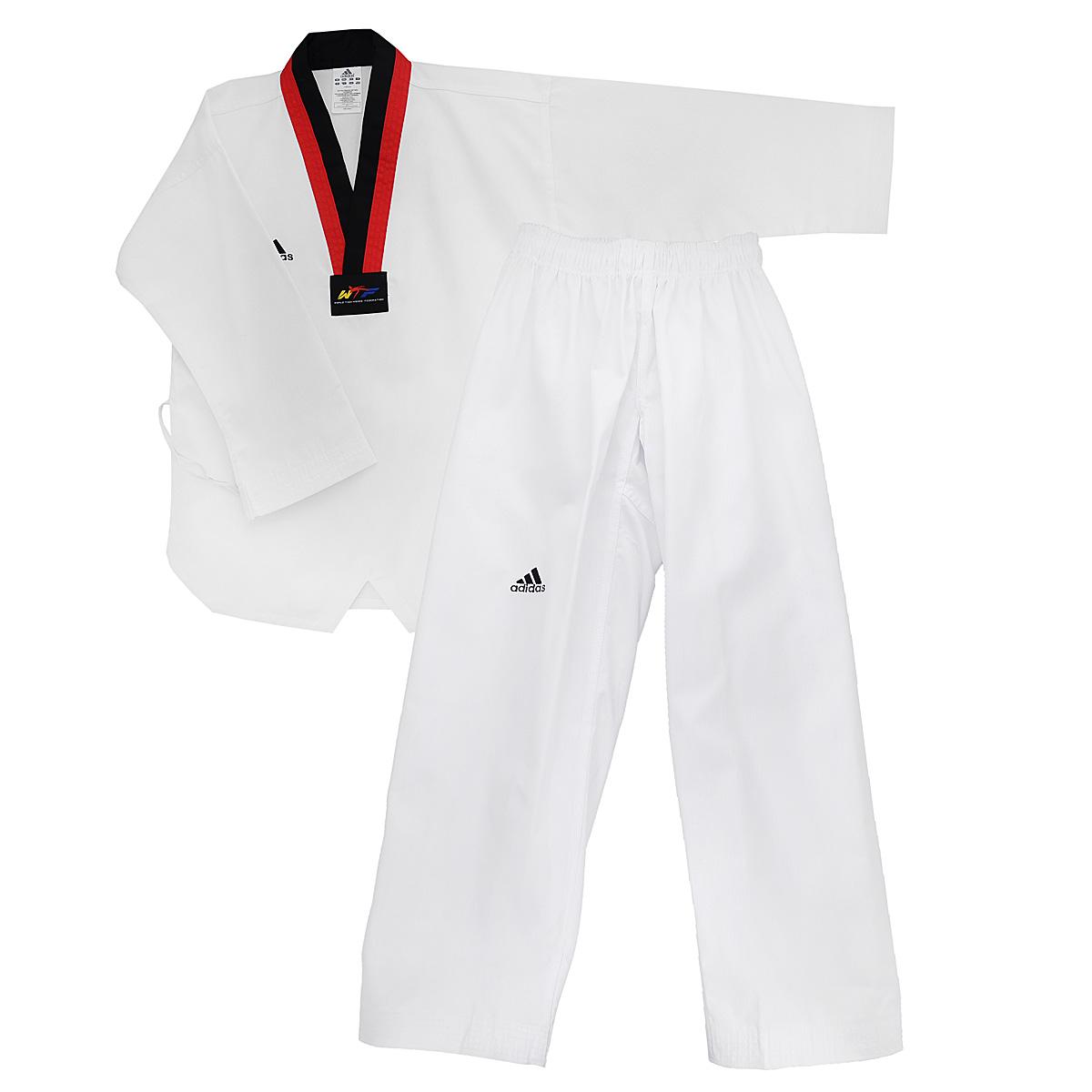 Кимоно для тхэквондо adidas Taekwondo Adi-Start, цвет: белый, черный, красный. adiTS01-WH/RD-BK. Размер 160adiTS01-WH/RD-BKКимоно для тхэквондо adidas Taekwondo Adi-Start состоит из рубашки и брюк. Просторная рубашка без пояса с V-образным вырезом горловин, боковыми разрезами и длинными рукавами изготовлена из плотного полиэстера с добавлением хлопка. Боковые швы, края рукавов и полочка укреплены дополнительными строчками. В области талии по спинке рубашка дополнена эластичной резинкой для регулирования ширины.Просторные брюки особого покроя имеют широкий эластичный пояс, регулируемый скрытым шнурком. Низ брючин с внутренней стороны укреплен дополнительными строчками.Кимоно рекомендуется для тренировок в зале.
