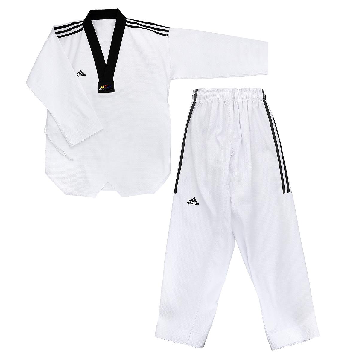 Кимоно для тхэквондо adidas Adi-GrandMaster 3, цвет: белый, черный. adiTGM01-WH/BK. Размер 160adiTGM01-WH/BKКимоно для тхэквондо adidas Adi-GrandMaster 3 состоит из рубашки и брюк. Просторная рубашка без пояса с V-образным вырезом горловин, боковыми разрезами и длинными рукавами изготовлена из плотного полиэстера с добавлением хлопка. Боковые швы, края рукавов и полочка укреплены дополнительными строчками. В области талии по спинке рубашка дополнена эластичной резинкой для регулирования ширины.Просторные брюки особого покроя имеют широкий эластичный пояс, регулируемый скрытым шнурком. Низ брючин с внутренней стороны укреплен дополнительными строчками.Кимоно рекомендуется для тренировок в зале.