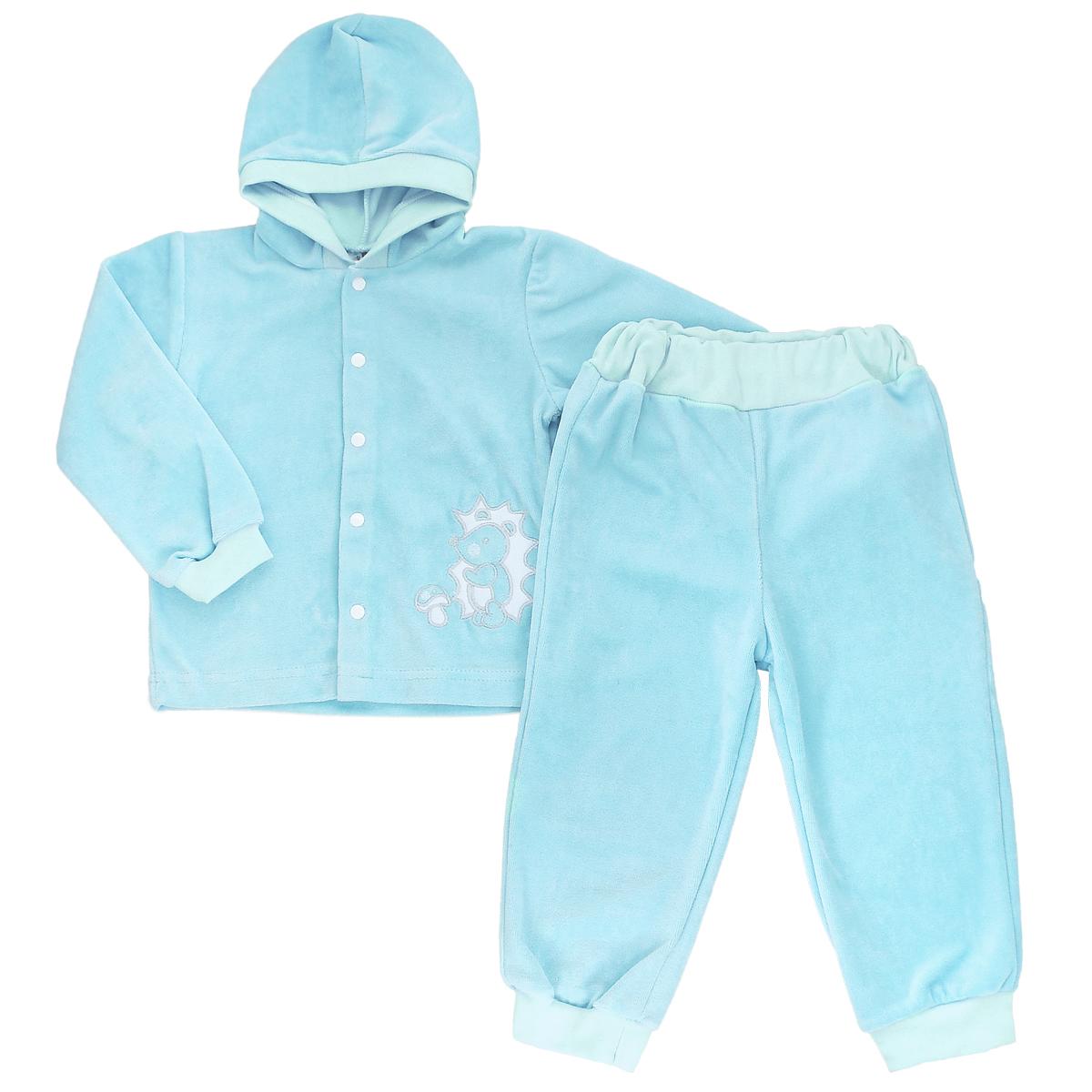 Комплект детский КотМарКот: кофточка, брюки, цвет: бирюзовый. 270_5. Размер 104