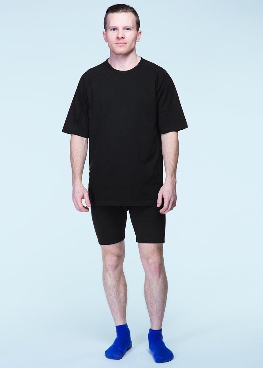 Комплект термобелья мужской Серебряный пингвин: шорты, футболка, цвет: черный. 032Д. Размер XL (54/56)