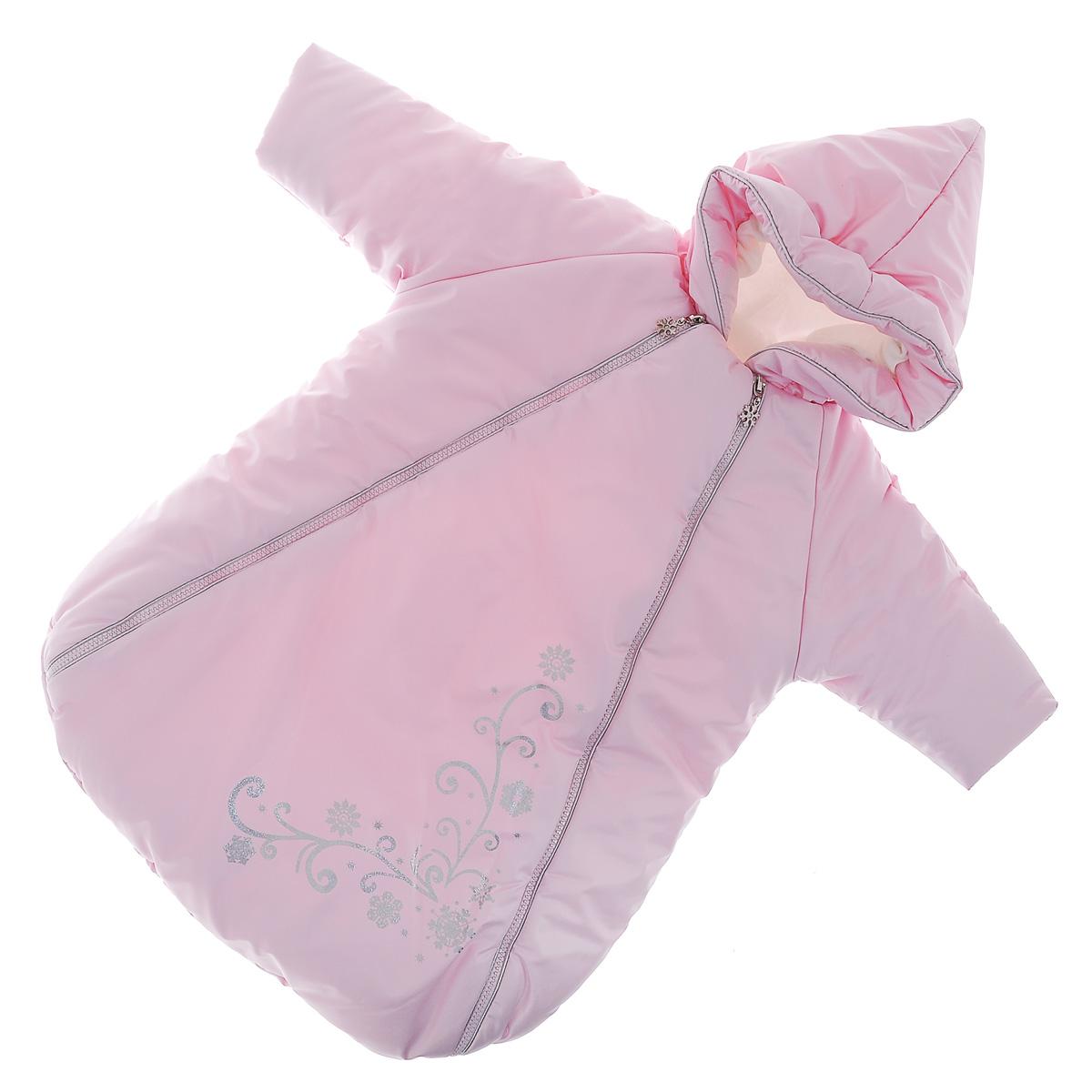 Конверт для новорожденного Сонный гномик Снежинка, цвет: розовый. 977/2. Возраст 0/9 месяцев977/2Теплый конверт для новорожденного Сонный гномик Снежинка идеально подойдет для ребенка в холодное время года. Конверт изготовлен из водоотталкивающей и ветрозащитной ткани Dewspo (100% полиэстер) на подкладке из шерсти с добавлением полиэстера. В качестве утеплителя используется шелтер (100% полиэстер).Шелтер (Shelter) - утеплитель нового поколения с тонкими волокнами. Его более мягкие ячейки лучше удерживают воздух, эффективнее сохраняя тепло. Более частые связи между волокнами делают утеплитель прочным и позволяют сохранить его свойства даже после многократных стирок. Утеплитель шелтер максимально защищает от холода и не стесняет движений.Конверт с капюшоном и рукавами-реглан спереди застегивается на две длинные застежки-молнии, а также клапаном на липучку под подбородком. Капюшон не отстегивается и присборен по краю на эластичную резинку. Рукава дополнены внутренними эластичными манжетами и отворотами. Подкладка рукавов для большего комфорта дополнена мягким теплым флисом. Оформлено изделие термоаппликацией с изображением узоров и снежинок с блестящим напылением.Комфортный, удобный и практичный, этот конверт идеально подойдет для прогулок на свежем воздухе!