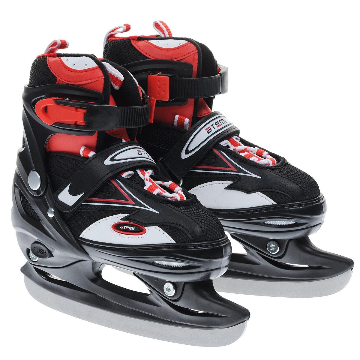Коньки-трансформеры раздвижные Atemi Cross, хоккейные/роликовые, цвет: черный, красный, белый. Размер 34/37CROSSРаздвижные коньки-трансформеры Atemi Cross с возможностью замены конькового лезвия на колеса без ущерба функциональности - практичное и экономичное решение на летний и зимний сезоны. Стопа ребенка растет круглый год, поэтому Atemi оснастила коньки-трансформеры функцией регулировки размера.Коньки легко превращаются из роликовых в ледовые и наоборот. Материалы изготовления ботинка позволяют кататься с комфортом, как по асфальту, так и по катку. Ботинок очень хорошо держит ногу и при этом позволит чувствовать удобство во время катания. Манжета изготовлена из прочного пластика, которая защитит ногу от ударов, ботинок - из износостойкого нейлона со вставками из искусственной кожи. Внутренняя поверхность выполнена из теплого велюра, который обеспечит тепло и комфорт во время катания. Четкую фиксацию голени обеспечивают шнуровка, ремешок на липучке и пластиковая бакля с фиксатором.Особенностью коньков является раздвижная конструкция, которая позволяет увеличивать длину ботинка на 4 размера по мере роста ноги ребенка.Стальное хоккейное лезвие обеспечит превосходное скольжение. В комплект входят пластиковые рамы с колесами из полиуретана. Одна рама дополнена тормозом.