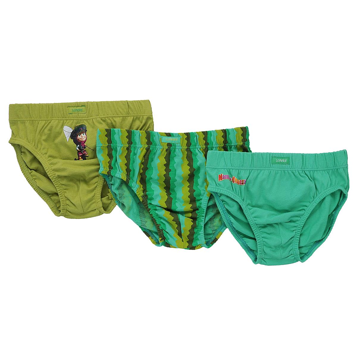 Комплект трусов для мальчика Lowry Маша и Медведь, цвет: зеленый, оливковый, коричневый, 3 шт. BB-285. Размер 28 (XS), 2 годаBB-285Комплект для мальчика Lowry Маша и Медведь состоит из трех трусиков-слипов, оформленных оригинальным принтом и небольшими аппликациями с изображением Машеньки - главной героини мультфильма Маша и Медведь, а также аппликацией в виде надписи Маша и Медведь.Очень удобные трусы изготовлены из натурального хлопка, они необычайно мягкие и приятные на ощупь, не раздражают нежную кожу ребенка и хорошо вентилируются, а эластичные швы приятны телу малыша и не препятствуют его движениям. Трусы имеют широкую эластичную резинку на талии, не сдавливающую животик ребенка. Пройма для ножек также дополнена трикотажными эластичными резинками. Трусы идеально подойдут вашему малышу, а современные принты и мягкие полотна позволят ему комфортно чувствовать себя в течение дня!