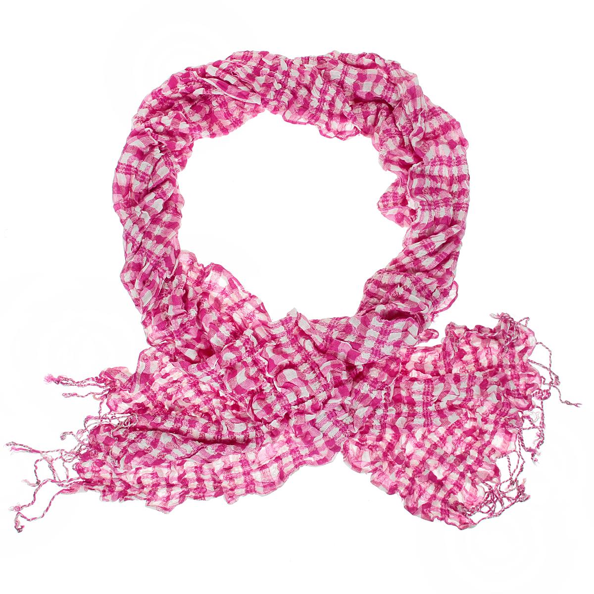 Шарф женский Ethnica, цвет: ярко-розовый, белый. 184090н. Размер 30 см х 150 см184090нЭлегантный женский шарф Ethnica подчеркнет ваш неповторимый образ. Он выполнен из мягкой вискозы жатой фактуры и оформлен принтом в клетку. По краям модель декорирована кисточками, скрученными в жгутики.Этот модный аксессуар женского гардероба гармонично дополнит образ современной женщины, следящей за своим имиджем и стремящейся всегда оставаться стильной и элегантной.