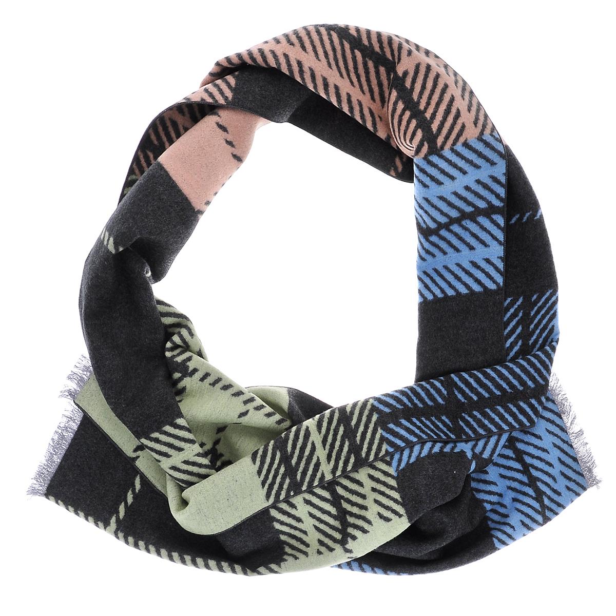 Шарф мужской Moltini, цвет: бежевый, голубой, светло-зеленый. 90005-08J. Размер 30 см х 180 см90005-08JЭлегантный мужской шарф Moltini согреет в холодное время года, а также станет изысканным аксессуаром, который призван подчеркнуть ваш стиль и индивидуальность. Ворсистый теплый шарф выполнен на основе из 100% шелка и оформлен оригинальным принтом. Края модели декорированы тонкой бахромой.