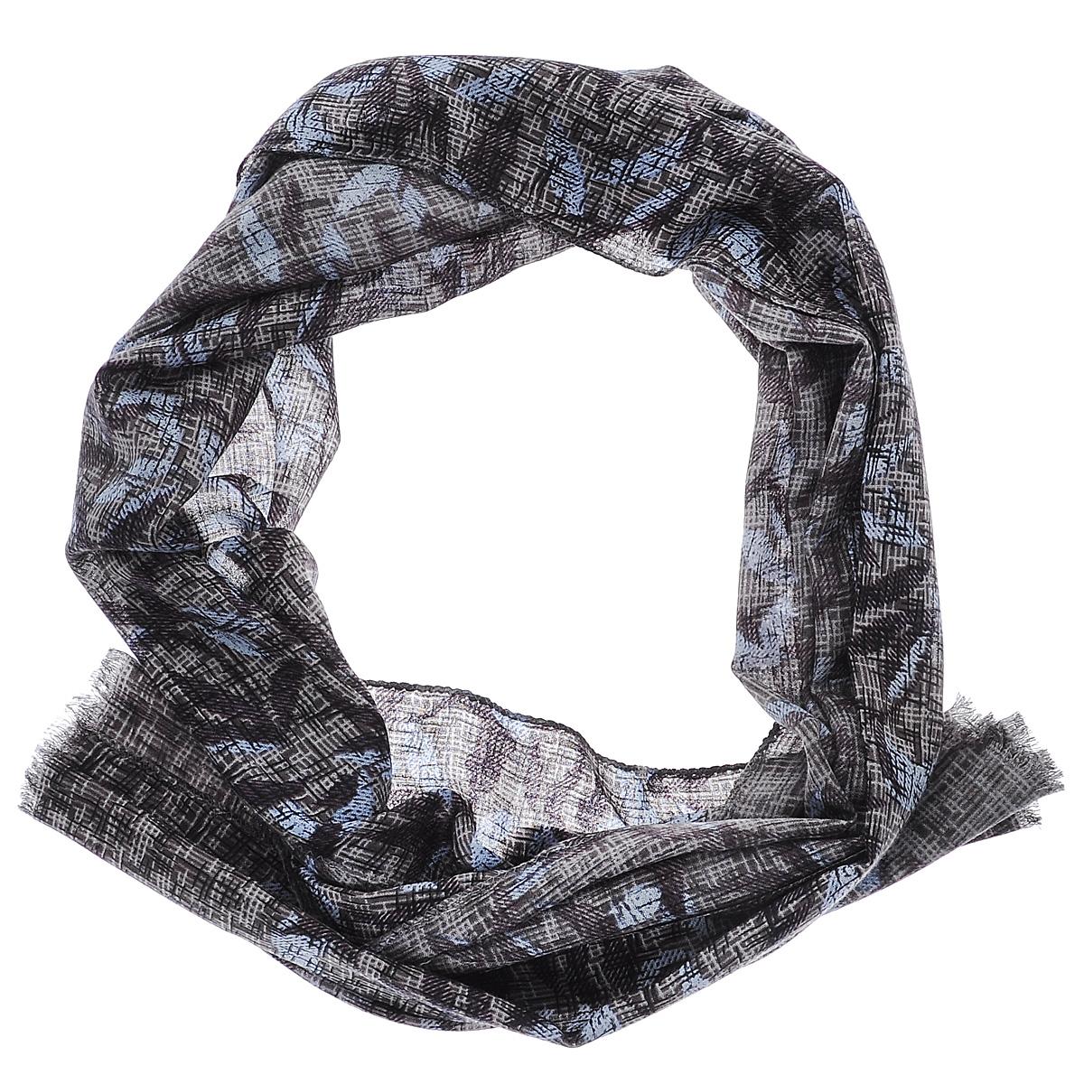 Шарф женский Moltini, цвет: серо-коричневый, голубой. 35010-11O. Размер 50 см х 186 см35010-11OЭлегантный женский шарф Moltini подчеркнет ваш неповторимый образ. Он выполнен из мягкой натуральной шерсти и оформлен оригинальным цветочным принтом. Края шарфа декорированы тонкой бахромой.Этот модный аксессуар женского гардероба гармонично дополнит образ современной женщины, следящей за своим имиджем и стремящейся всегда оставаться стильной и женственной.