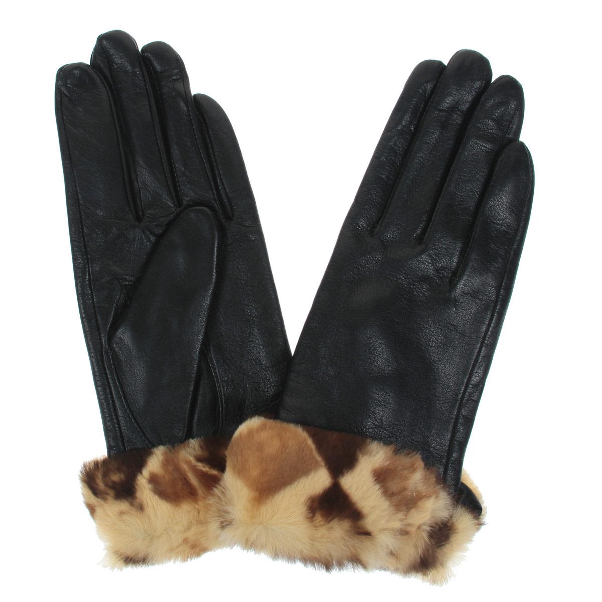 Перчатки женские Falner, цвет: черный, бежевый. L-20. Размер 6,5L-20Стильные женские перчатки Falner заинтригуют любого мужчину и заставят завидовать любую женщину. Они не только защитят ваши руки от холода, но и станут великолепным украшением. Модель изготовлена из мягкой натуральной кожи с флисовой подкладкой. Изделие оформлено отворотом, декорированным мехом кролика. На внешнем боку имеется небольшой разрез. Перчатки являются неотъемлемой принадлежностью одежды, вместе с этим аксессуаром вы обретаете женственность и элегантность. Они станут завершающим и подчеркивающим элементом вашего неповторимого стиля и индивидуальности.