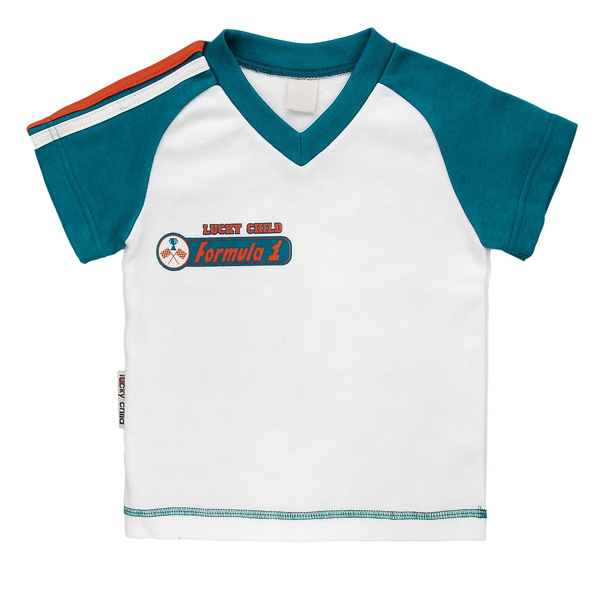 Футболка для мальчика Lucky Child, цвет: сине-зеленый, молочный. 21-262. Размер 98/104