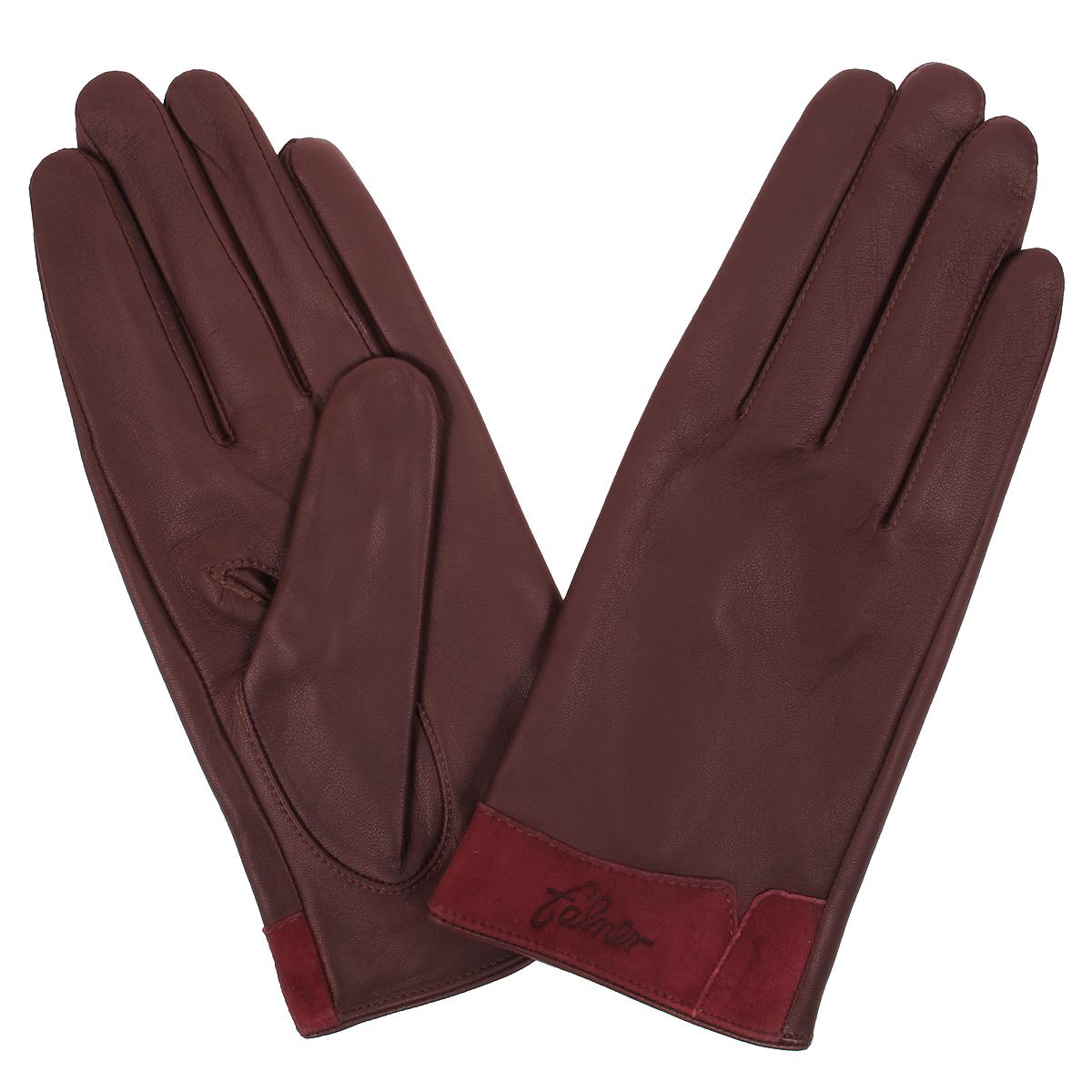 Перчатки женские Falner, цвет: бордовый. L-12. Размер 7,5L-12Стильные женские перчатки Falner с подкладкой из текстиля выполнены из мягкой и приятной на ощупь натуральной кожи.Манжеты с лицевой стороны выполнены из замши. С тыльной стороны манжеты дополнены небольшими разрезами.Такие перчатки подчеркнут ваш стиль и неповторимость и придадут всему образу нотки женственности и элегантности.