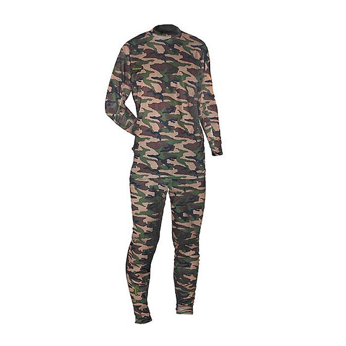 Термобелье мужское Norfin Thermo Line Camo: футболка с длинным рукавом, брюки, цвет: камуфляжный. 300820. Размер XXXL (64/66)300820Тонкое мужское термобелье Norfin Thermo Line Camo, состоящее из футболки с длинным рукавом и брюк, используется для повседневной носки в прохладную погоду. Дышащее белье надевается на голое тело. Белье изготовлено из 100% полиэстера.Футболка с длинными рукавами имеет небольшой воротник-стойку. Рукава дополнены широкими эластичными манжетами. Спинка изделия удлинена. На груди футболка оформлена небольшой вышивкой в виде названия бренда. Брюки на талии имеют широкий эластичный пояс, дополненный скрытым шнурком. Низ брючин дополнен широкими эластичными манжетами.