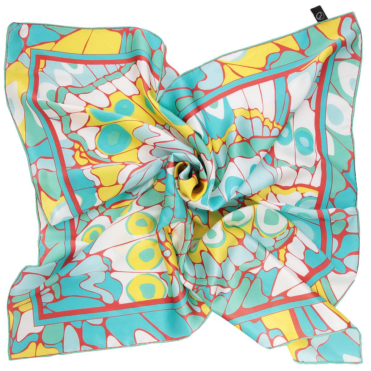 Платок женский Venera, цвет: мятный, желтый. 1801629-1. Размер 90 см х 90 см1801629-1 ПлатокОчаровательный платок Venera подчеркнет ваш неповторимый образ. Изделие выполнено из натурального шелка и оформлено ярким орнаментом. Края платка обработаны вручную. Этот модный аксессуар женского гардероба гармонично дополнит образ современной женщины, следящей за своим имиджем и стремящейся всегда оставаться стильной и элегантной.