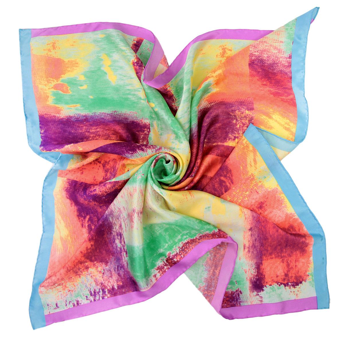 Платок женский Venera, цвет: зеленый, коралловый. 1801829-9. Размер 90 см х 90 см1801829-9 ПлатокОчаровательный платок Venera подчеркнет ваш неповторимый образ. Изделие выполнено из натурального шелка и оформлено абстрактным принтом. Края платка обработаны вручную. Этот модный аксессуар женского гардероба гармонично дополнит образ современной женщины, следящей за своим имиджем и стремящейся всегда оставаться стильной и элегантной.