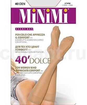Гольфы женские Minimi Dolce 40, 2 пары, цвет: Daino (загар). Размер универсальныйDOLCE 40Матовые гольфы Minimi Dolce с резинкой топ-комфорт и укрепленным мыском. В комплект входят 2 пары. Плотность: 40 den.