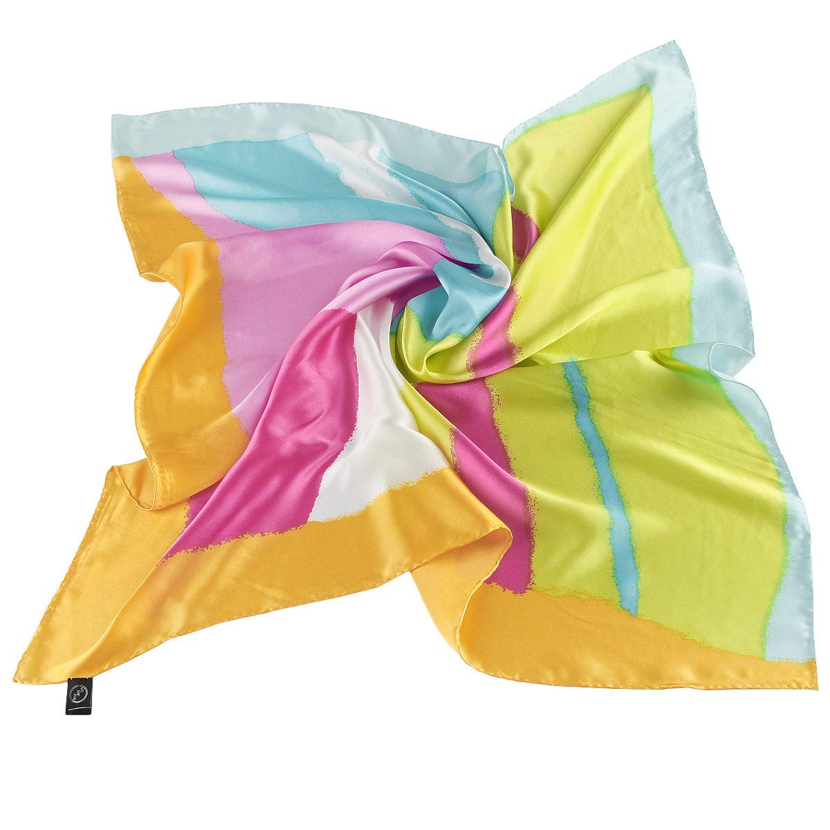 Платок женский Venera, цвет: розовый, желтый, голубой. 1802029-10. Размер 90 см х 90 см1802029-10 ПлатокЯркий платок Venera подчеркнет ваш неповторимый образ. Изделие выполнено из натурального шелка и оформлено абстрактным принтом. Края платка обработаны вручную. Этот модный аксессуар женского гардероба гармонично дополнит образ современной женщины, следящей за своим имиджем и стремящейся всегда оставаться стильной и элегантной.