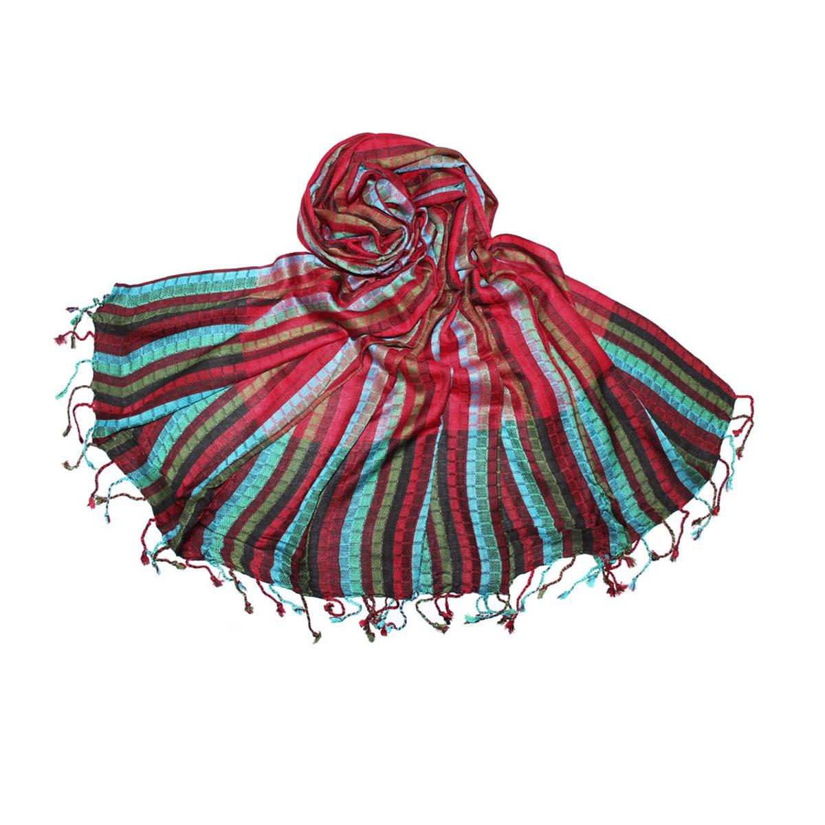 Палантин Ethnica, цвет: красный, зеленый, голубой. 443110н. Размер 70 см х 180