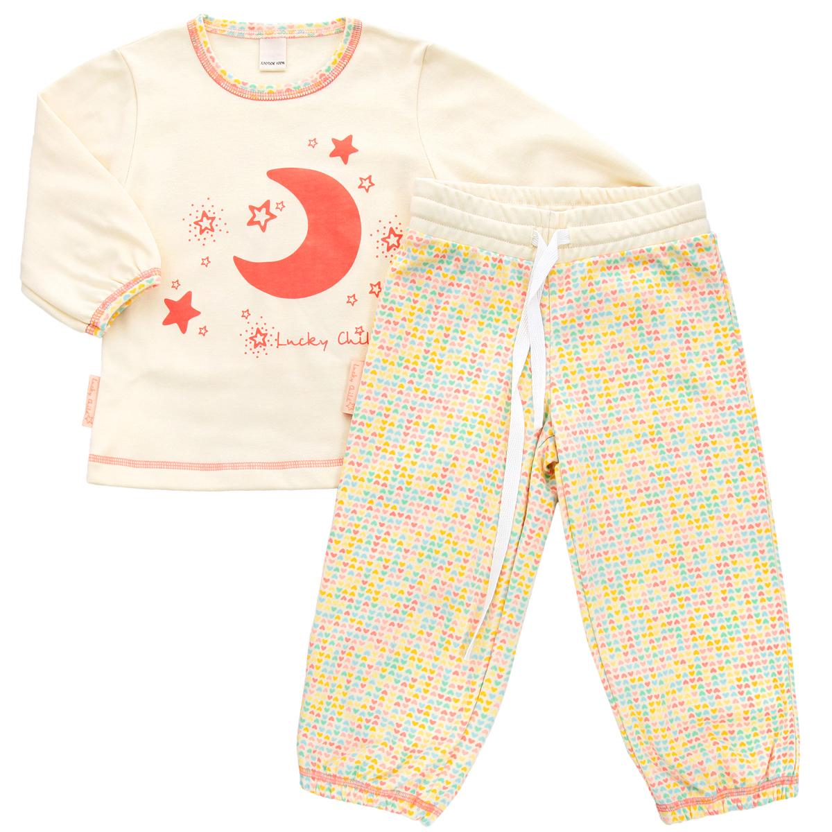 Пижама для девочки Lucky Child, цвет: кремовый, желтый, оранжевый. 12-400. Размер 110/11612-400Очаровательная пижама для девочки Lucky Child, состоящая из футболки с длинным рукавом и брюк, идеально подойдет вашей дочурке и станет отличным дополнением к детскому гардеробу. Изготовленная из натурального хлопка - интерлока, она необычайно мягкая и приятная на ощупь, не раздражает нежную кожу ребенка и хорошо вентилируется, а эластичные швы приятны телу и не препятствуют его движениям.Футболка трапециевидного кроя с длинными рукавами и круглым вырезом горловины оформлена спереди оригинальной термоаппликацией в виде месяца, а также изображением звездочек и названием бренда. Горловина и низ рукавов оформлены принтом с мелким изображением сердечек. Низ изделия оформлен контрастной фигурной прострочкой. Брюки на талии имеют широкий эластичный пояс со шнурком, благодаря чему они не сдавливают животик ребенка и не сползают. Низ брючин присборен на эластичные резинки. Оформлены брюки принтом с мелким изображением сердечек по всей поверхности. Такая пижама идеально подойдет вашей дочурке, а мягкие полотна позволят ей комфортно чувствовать себя во время сна!