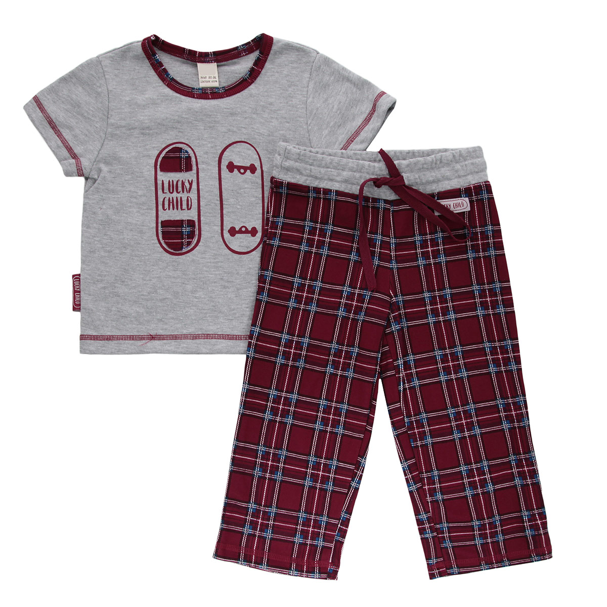 Пижама для мальчика Lucky Child, цвет: красный, серый. 13-402. Размер 110/11613-402Очаровательная пижама для мальчика Lucky Child, состоящая из футболки и брюк, идеально подойдет вашему малышу и станет отличным дополнением к детскому гардеробу. Изготовленная из натурального хлопка - интерлока, она необычайно мягкая и приятная на ощупь, не раздражает нежную кожу ребенка и хорошо вентилируется, а эластичные швы приятны телу малыша и не препятствуют его движениям. Футболка с короткими рукавами и круглым вырезом горловины оформлена спереди оригинальной аппликацией и принтом с изображением скейтборда. Вырез горловины дополнен контрастной бейкой, оформленной принтом в клетку. Низ рукавов и низ модели украшены контрастной фигурной прострочкой. Брюки прямого кроя на талии имеют широкий эластичный пояс со шнурком, благодаря чему они не сдавливают животик ребенка и не сползают. Оформлены брюки принтом в клетку и украшены небольшой нашивкой с названием бренда. Такая пижама идеально подойдет вашему малышу, а мягкие полотна позволят маленькому непоседе комфортно чувствовать себя во время сна!