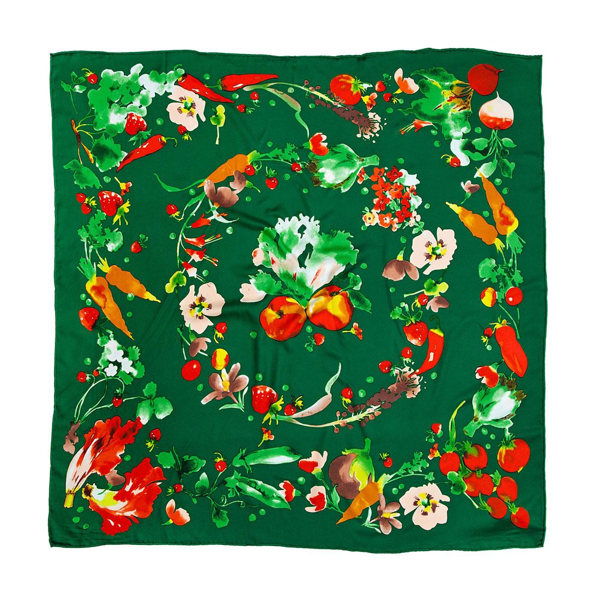 Платок женский Модные истории, цвет: зеленый, оранжевый. 23/0245/243. Размер 90 см x 90 см23/0245/243Яркий и стильный платок Модные истории станет великолепным завершением любого наряда. Платок изготовлен из высококачественного полиэстера. Он оформлен красочным принтом в виде овощей, ягод и цветов. Классическая квадратная форма позволяет носить его на шее, украшать прическу или декорировать сумочку. Мягкий и шелковистый платок поможет вам создать оригинальный женственный образ.Такой платок превосходно дополнит любой наряд и подчеркнет ваш неповторимый вкус и элегантность.