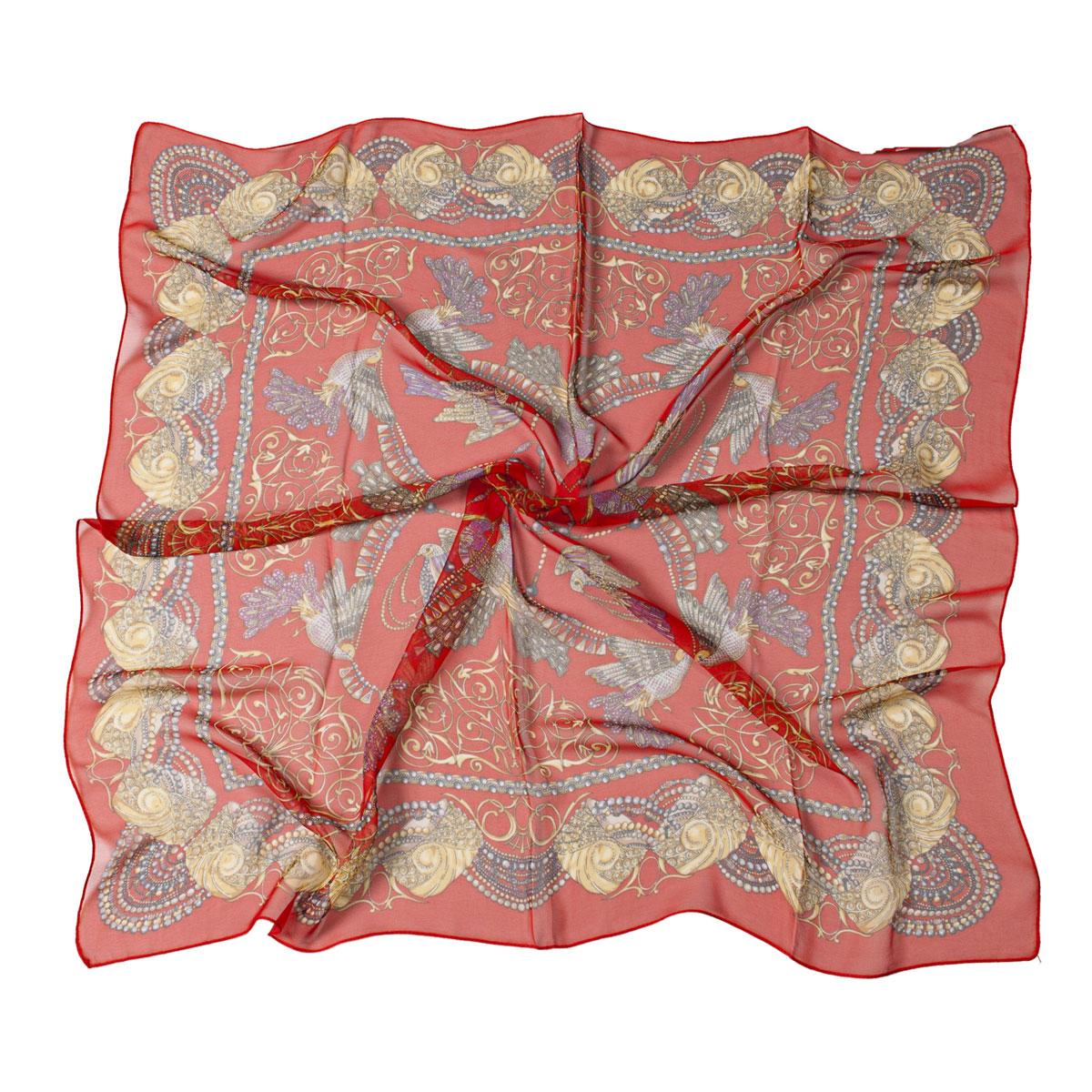 Платок женский Модные истории, цвет: красный, оранжевый. 23/0120/110. Размер 85 см x 85 см23/0120/110Легкий и воздушный платок Модные истории станет великолепным завершением любого наряда. Платок изготовлен из высококачественного полиэстера с добавлением шелка. Он оформлен красочным этническим принтом с изображением птиц. Классическая квадратная форма позволяет носить его на шее, украшать прическу или декорировать сумочку. Мягкий и шелковистый платок поможет вам создать оригинальный женственный образ.Такой платок превосходно дополнит любой наряд и подчеркнет ваш неповторимый вкус и элегантность.