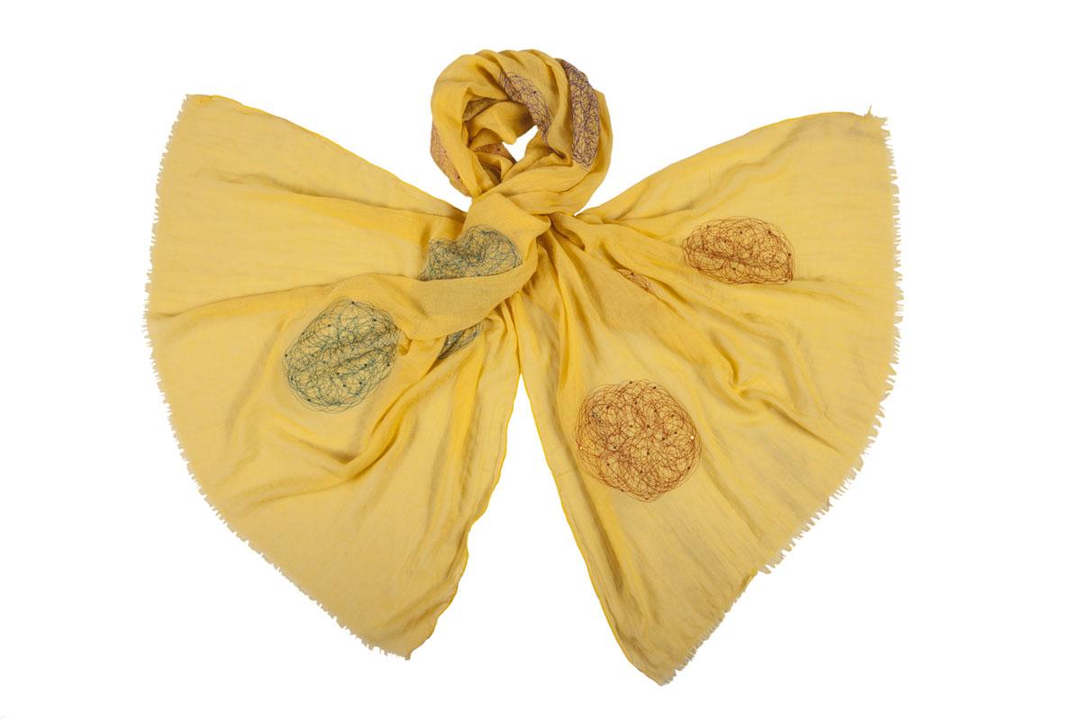 Палантин Модные истории, цвет: желтый, оранжевый, бирюзовый. 21/0399/068. Размер 180 см x 70