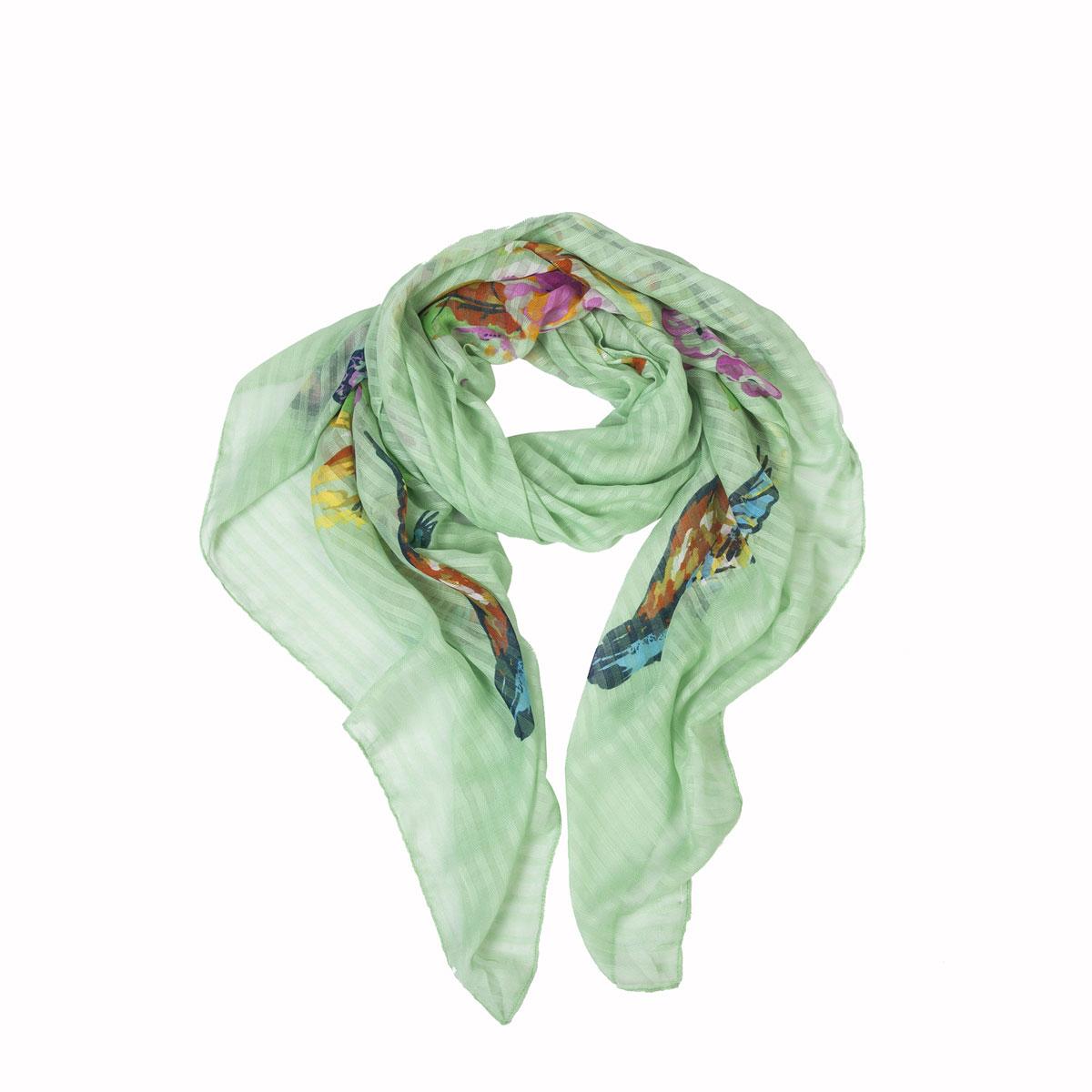 Палантин Модные истории, цвет: зеленый, розовый. 21/0380/243. Размер 190 см x 90