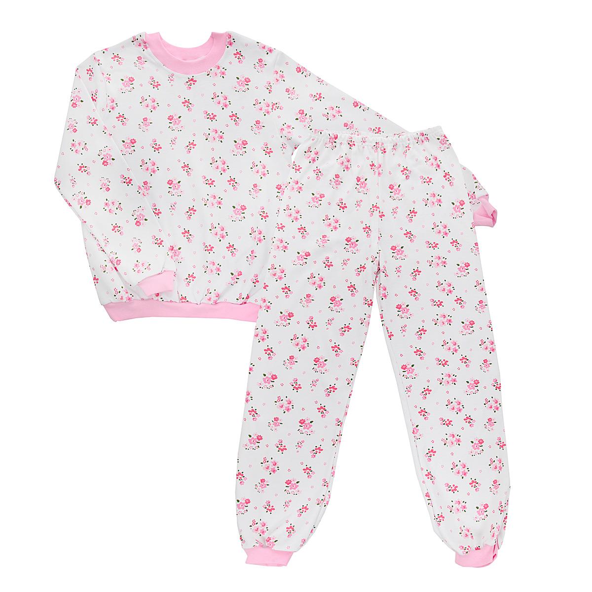 Пижама для девочки Трон-плюс, цвет: белый, розовый. 5555_цветы. Размер 86/92, 2-3 года5555_цветыУютная пижама для девочки Трон-плюс, состоящая из джемпера и брюк, идеально подойдет вашему ребенку и станет отличным дополнением к детскому гардеробу. Изготовленная из натурального хлопка, она необычайно мягкая и легкая, не сковывает движения, позволяет коже дышать и не раздражает даже самую нежную и чувствительную кожу ребенка. Джемпер с длинными рукавами имеет круглый вырез горловины. Низ изделия, рукава и вырез горловины дополнены широкой трикотажной резинкой контрастного цвета.Брюки на талии имеют эластичную резинку, благодаря чему не сдавливают живот ребенка и не сползают. Низ брючин дополнен широкими эластичными манжетами контрастного цвета.Оформлено изделие ненавязчивым цветочным принтом. В такой пижаме ваша дочурка будет чувствовать себя комфортно и уютно во время сна.