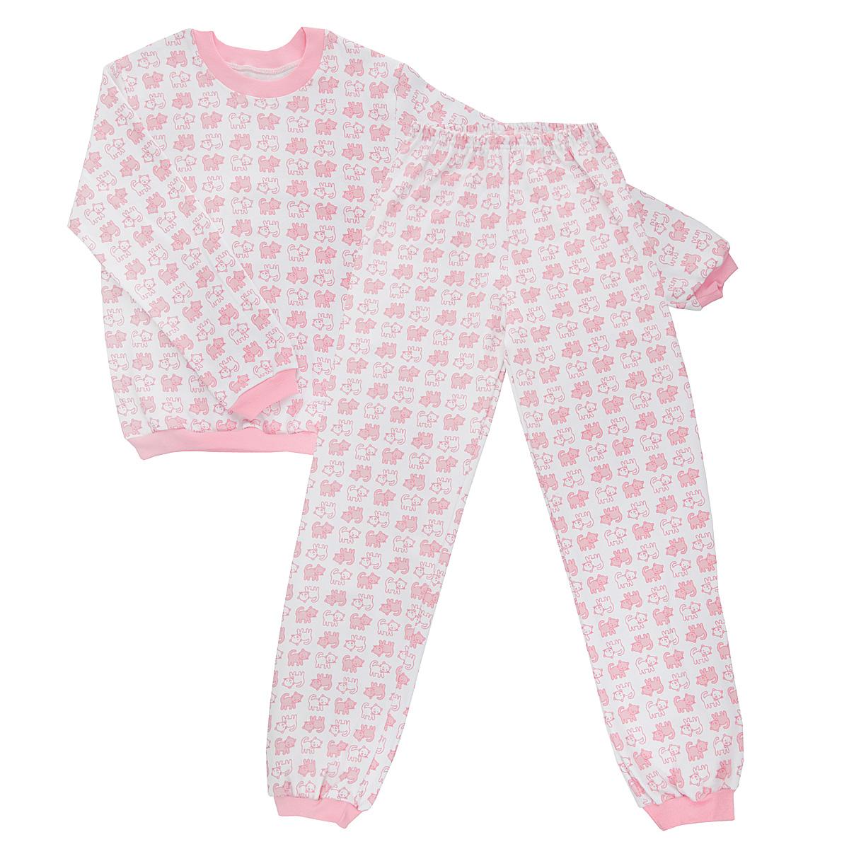 Пижама детская Трон-плюс, цвет: белый, розовый. 5555_котенок. Размер 110/116, 4-8 лет5555_котенокУютная детская пижама Трон-плюс, состоящая из джемпера и брюк, идеально подойдет вашему ребенку и станет отличным дополнением к детскому гардеробу. Изготовленная из интерлока, она необычайно мягкая и легкая, не сковывает движения, позволяет коже дышать и не раздражает даже самую нежную и чувствительную кожу ребенка. Трикотажный джемпер с длинными рукавами имеет круглый вырез горловины. Низ изделия, рукава и вырез горловины дополнены эластичной трикотажной резинкой контрастного цвета.Брюки на талии имеют эластичную резинку, благодаря чему не сдавливают живот ребенка и не сползают. Низ брючин дополнен широкими эластичными манжетами контрастного цвета.Оформлено изделие оригинальным принтом с изображением котят. В такой пижаме ваш ребенок будет чувствовать себя комфортно и уютно во время сна.