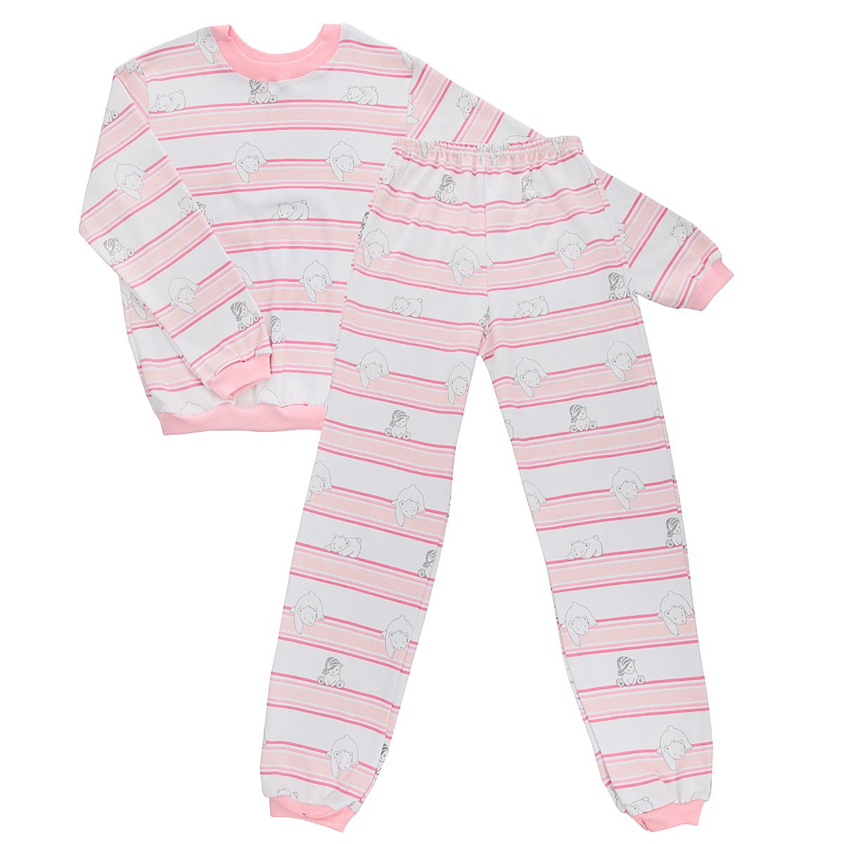 Пижама детская Трон-плюс, цвет: белый, розовый. 5555_мишка. Размер 110/116, 4-8 лет5555_мишкаУютная детская пижама Трон-плюс, состоящая из джемпера и брюк, идеально подойдет вашему ребенку и станет отличным дополнением к детскому гардеробу. Изготовленная из интерлока, она необычайно мягкая и легкая, не сковывает движения, позволяет коже дышать и не раздражает даже самую нежную и чувствительную кожу ребенка. Трикотажный джемпер с длинными рукавами имеет круглый вырез горловины. Низ изделия, рукава и вырез горловины дополнены эластичной трикотажной резинкой контрастного цвета.Брюки на талии имеют эластичную резинку, благодаря чему не сдавливают живот ребенка и не сползают. Низ брючин дополнен широкими эластичными манжетами контрастного цвета.Оформлено изделие оригинальным принтом с изображением белых мишек и цветных полос. В такой пижаме ваш ребенок будет чувствовать себя комфортно и уютно во время сна.
