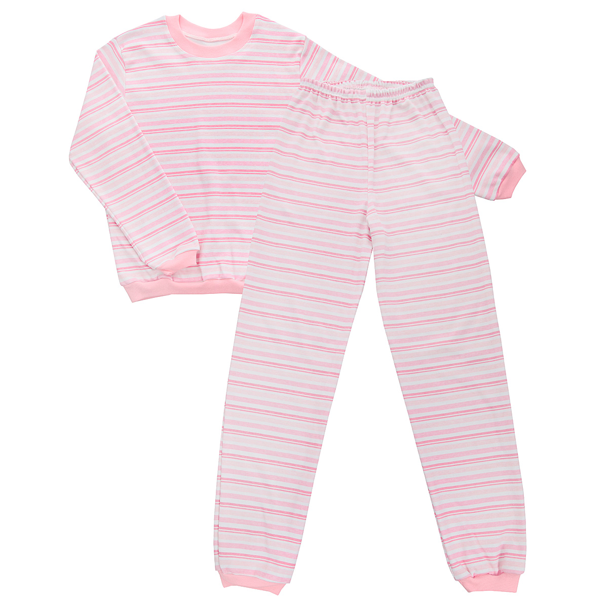 Пижама детская Трон-плюс, цвет: розовый, белый. 5555_полоска. Размер 122/128, 7-10 лет5555_полоскаУютная детская пижама Трон-плюс, состоящая из джемпера и брюк, идеально подойдет вашему ребенку и станет отличным дополнением к детскому гардеробу. Изготовленная из интерлока, она необычайно мягкая и легкая, не сковывает движения, позволяет коже дышать и не раздражает даже самую нежную и чувствительную кожу ребенка. Трикотажный джемпер с длинными рукавами имеет круглый вырез горловины. Низ изделия, рукава и вырез горловины дополнены эластичной трикотажной резинкой контрастного цвета.Брюки на талии имеют эластичную резинку, благодаря чему не сдавливают живот ребенка и не сползают. Низ брючин дополнен широкими эластичными манжетами контрастного цвета.Оформлено изделие принтом в полоску. В такой пижаме ваш ребенок будет чувствовать себя комфортно и уютно во время сна.