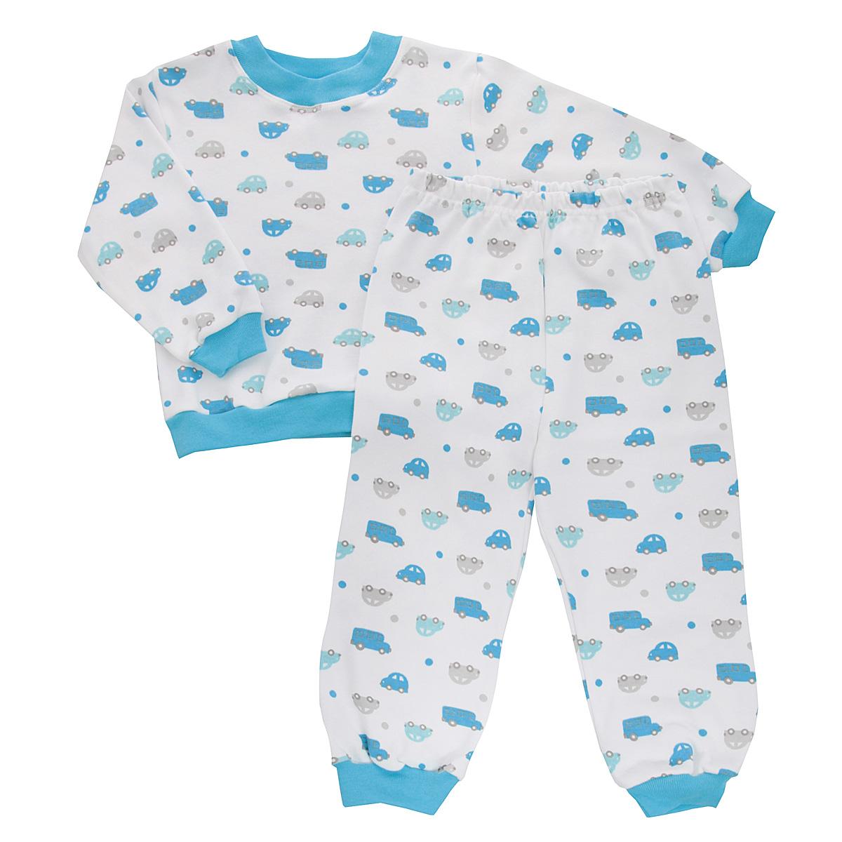 Пижама для мальчика Трон-плюс, цвет: белый, голубой. 5555_машинки. Размер 80/86, 1-2 года5555_машинкиУютная пижама для мальчика Трон-плюс, состоящая из джемпера и брюк, идеально подойдет вашему ребенку и станет отличным дополнением к детскому гардеробу. Изготовленная из натурального хлопка, она необычайно мягкая и легкая, не сковывает движения, позволяет коже дышать и не раздражает даже самую нежную и чувствительную кожу ребенка. Джемпер с длинными рукавами имеет круглый вырез горловины. Низ изделия, рукава и вырез горловины дополнены широкой трикотажной резинкой контрастного цвета.Брюки на талии имеют эластичную резинку, благодаря чему не сдавливают живот ребенка и не сползают. Низ брючин дополнен широкими эластичными манжетами контрастного цвета.Оформлено изделие ненавязчивым принтом с изображением машинок. В такой пижаме ваш ребенок будет чувствовать себя комфортно и уютно во время сна.