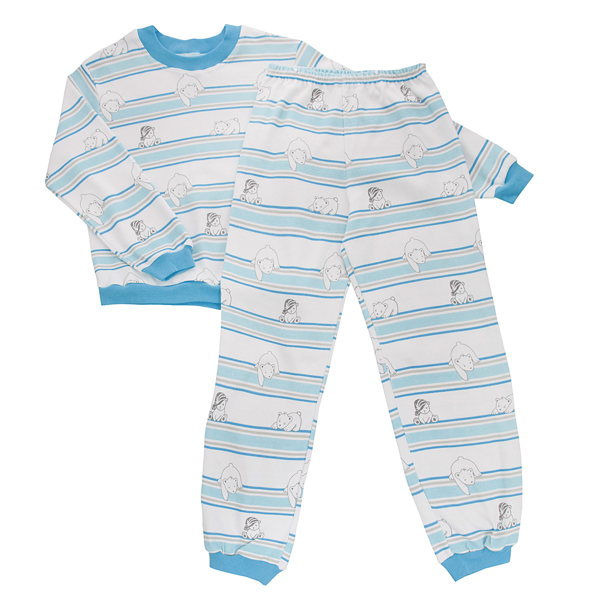 Пижама детская Трон-плюс, цвет: белый, голубой. 5555_мишка. Размер 80/86, 1-2 года5555_мишкаУютная детская пижама Трон-плюс, состоящая из джемпера и брюк, идеально подойдет вашему ребенку и станет отличным дополнением к детскому гардеробу. Изготовленная из интерлока, она необычайно мягкая и легкая, не сковывает движения, позволяет коже дышать и не раздражает даже самую нежную и чувствительную кожу ребенка. Трикотажный джемпер с длинными рукавами имеет круглый вырез горловины. Низ изделия, рукава и вырез горловины дополнены эластичной трикотажной резинкой контрастного цвета.Брюки на талии имеют эластичную резинку, благодаря чему не сдавливают живот ребенка и не сползают. Низ брючин дополнен широкими эластичными манжетами контрастного цвета.Оформлено изделие оригинальным принтом с изображением белых мишек и цветных полос. В такой пижаме ваш ребенок будет чувствовать себя комфортно и уютно во время сна.
