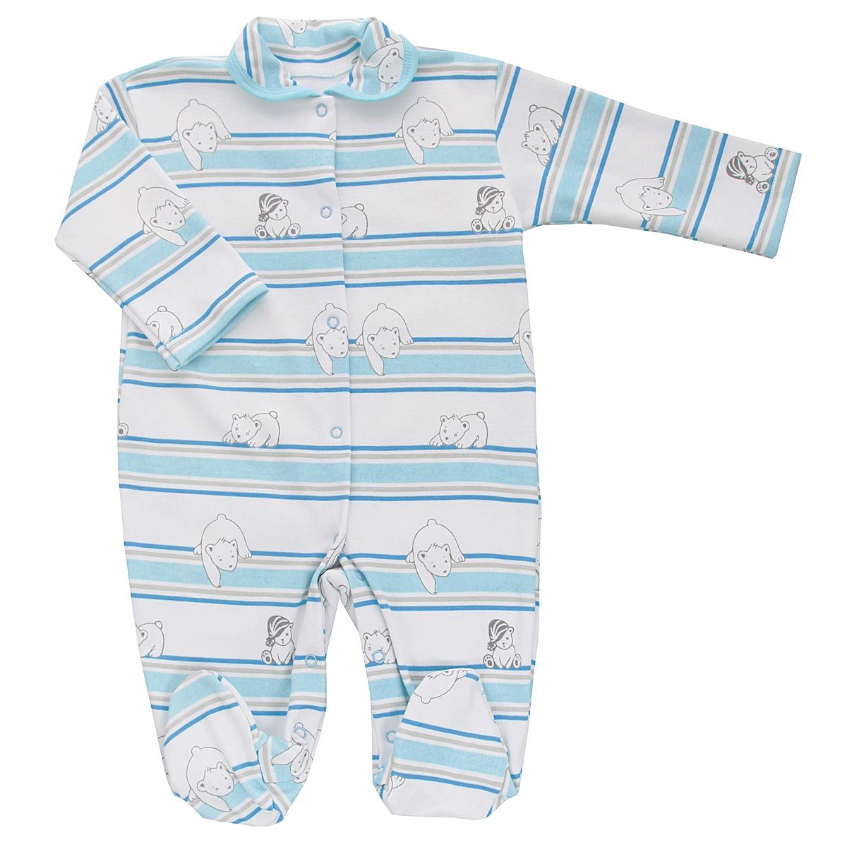Комбинезон детский Трон-плюс, цвет: белый, голубой. 5815_мишка, полоска. Размер 62, 3 месяца5815_мишка, полоскаДетский комбинезон Трон-Плюс - очень удобный и практичный вид одежды для малышей. Комбинезон выполнен из интерлока - натурального хлопка, благодаря чему он необычайно мягкий и приятный на ощупь, не раздражает нежную кожу ребенка, и хорошо вентилируются, а эластичные швы приятны телу младенца и не препятствуют его движениям. Комбинезон с длинными рукавами, закрытыми ножками и отложным воротничком имеет застежки-кнопки от горловины до щиколоток, которые помогают легко переодеть ребенка или сменить подгузник. Воротник по краю дополнен контрастной бейкой. Оформлено изделие принтом в полоску, а также изображениями медвежат. С детским комбинезоном спинка и ножки вашего крохи всегда будут в тепле, он идеален для использования днем и незаменим ночью. Комбинезон полностью соответствует особенностям жизни младенца в ранний период, не стесняя и не ограничивая его в движениях!
